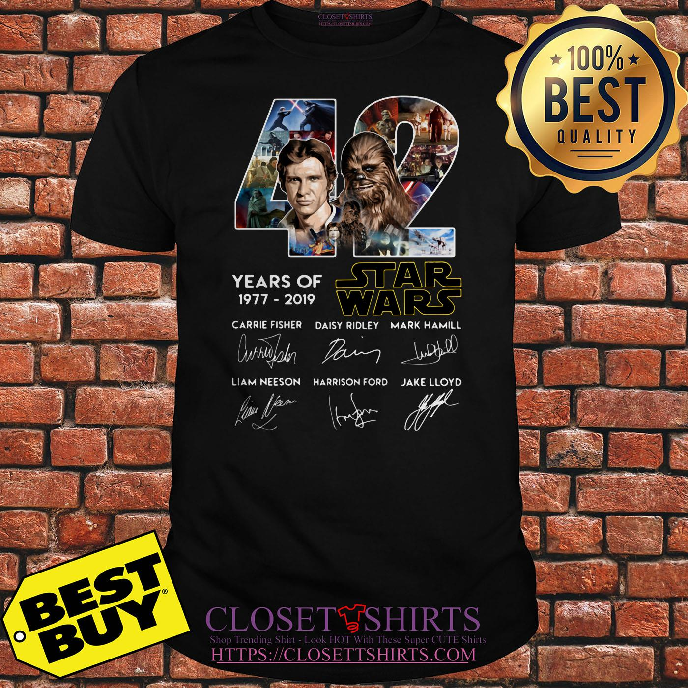 42 Years Of Star War 1977 2019 Signatures Shirt