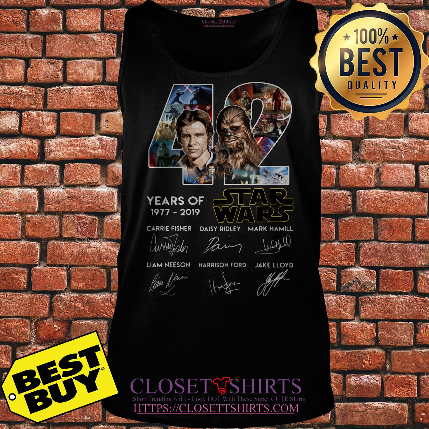 42 Years Of Star War 1977 2019 Signatures tank top