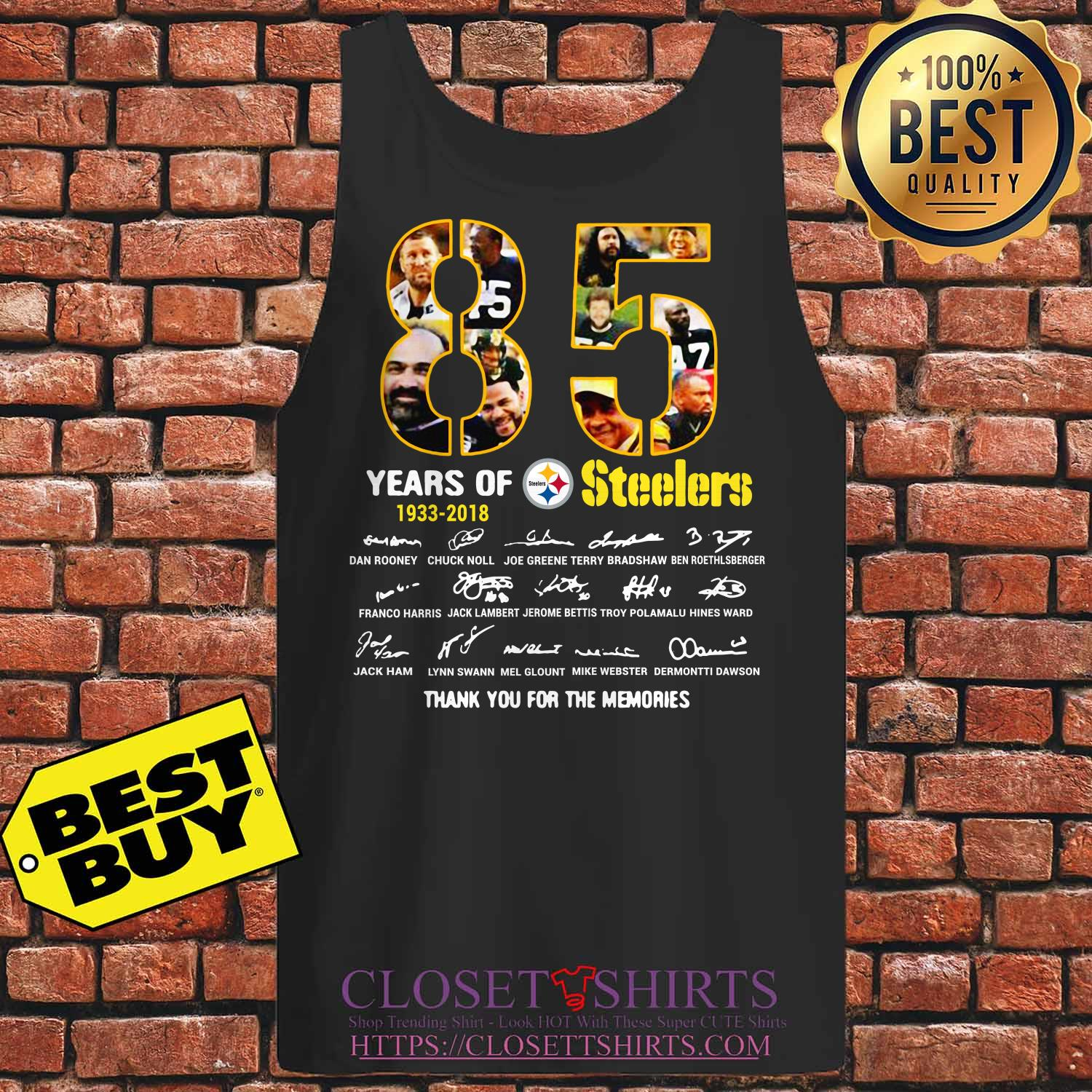 85 Years 1933 2018 Pittsburgh Steelers Thank Memories Signature Tank Top