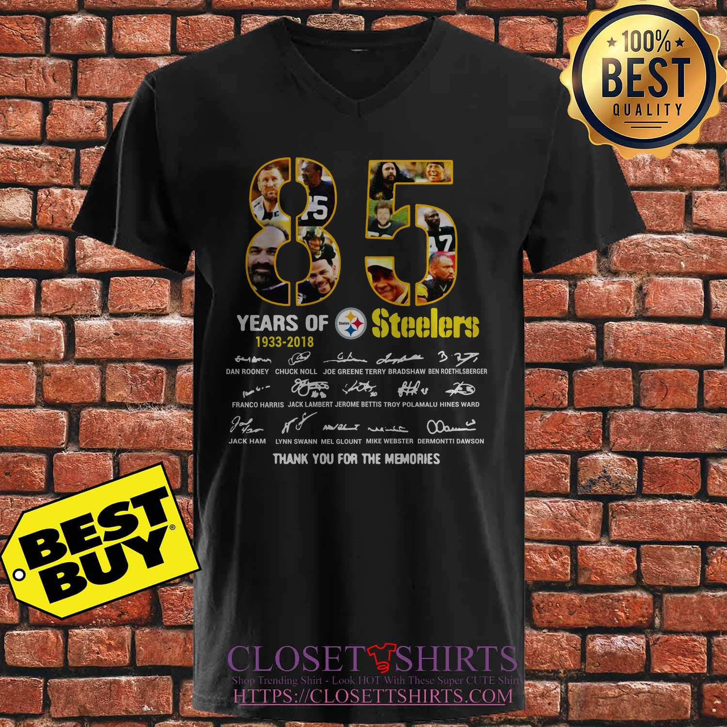 85 Years 1933 2018 Pittsburgh Steelers Thank Memories Signature V Neck