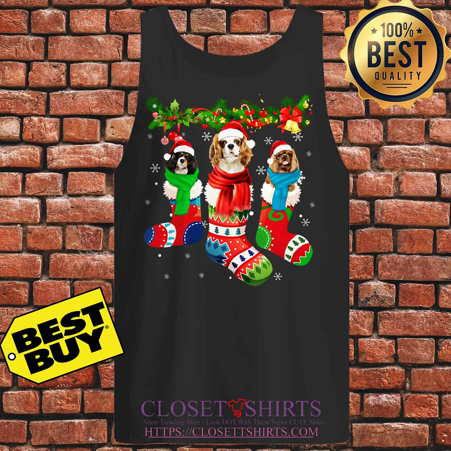 Cavalier King Charles Spaniel In Stocking Merry Christmas tank top