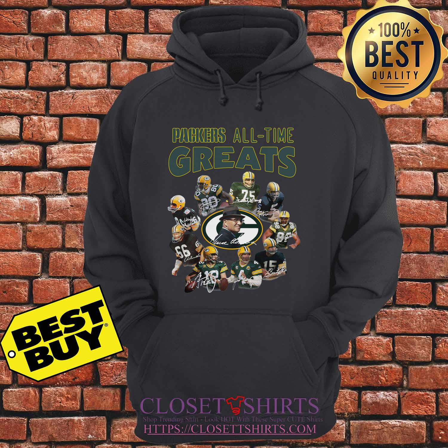 Green Bay Packers Players All Time Greats Signatures hoodie