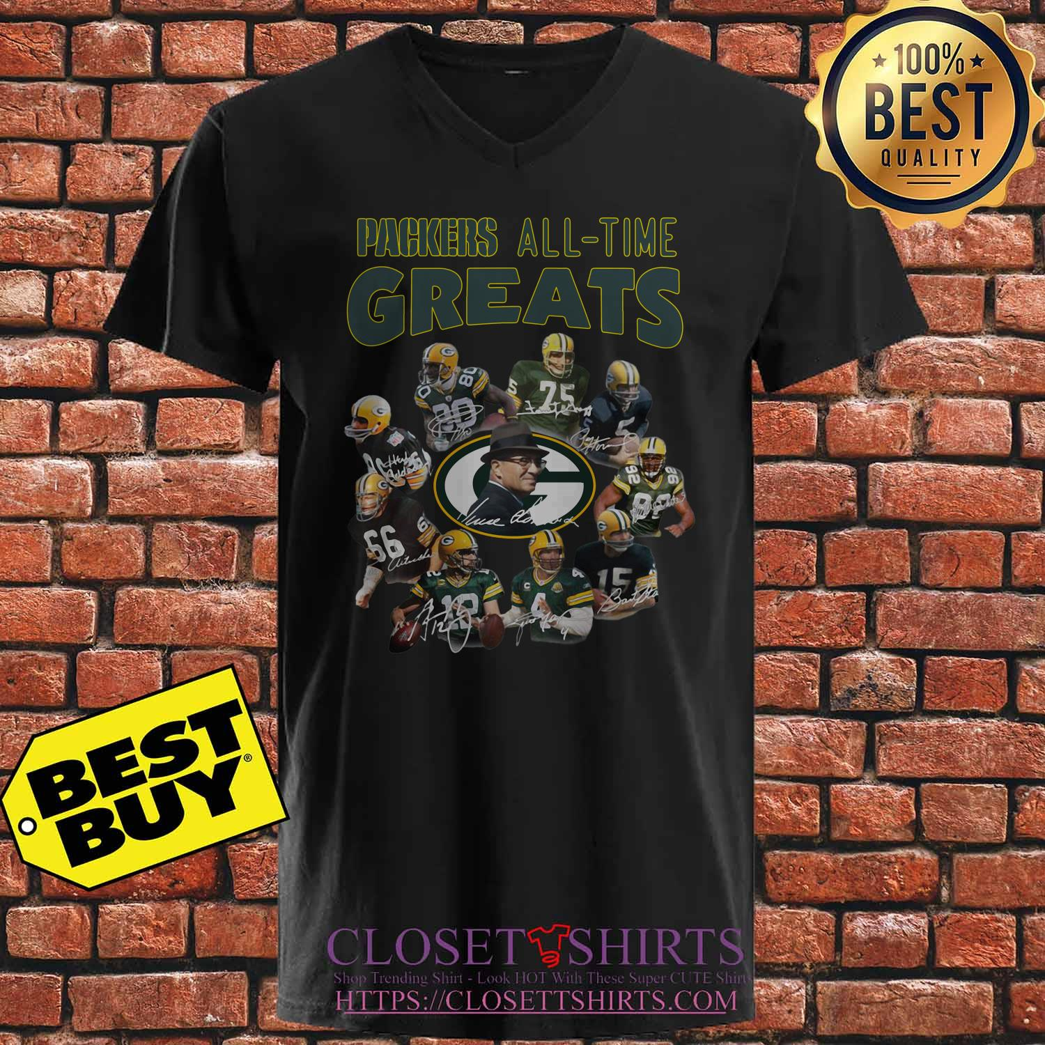 Green Bay Packers Players All Time Greats Signatures v neck