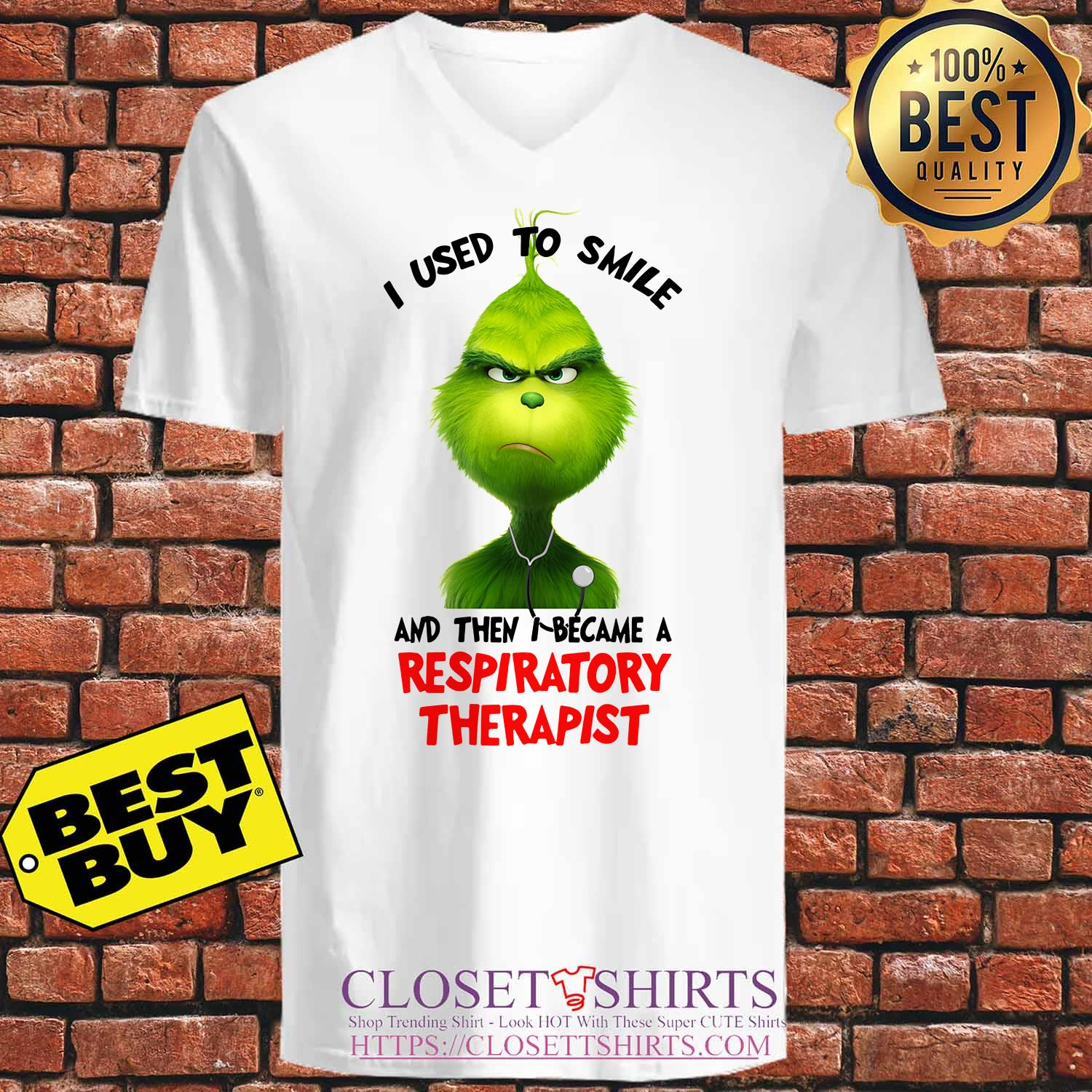 Grinch I Used To Smile And Then I Became A Respiratory Therapist v neck