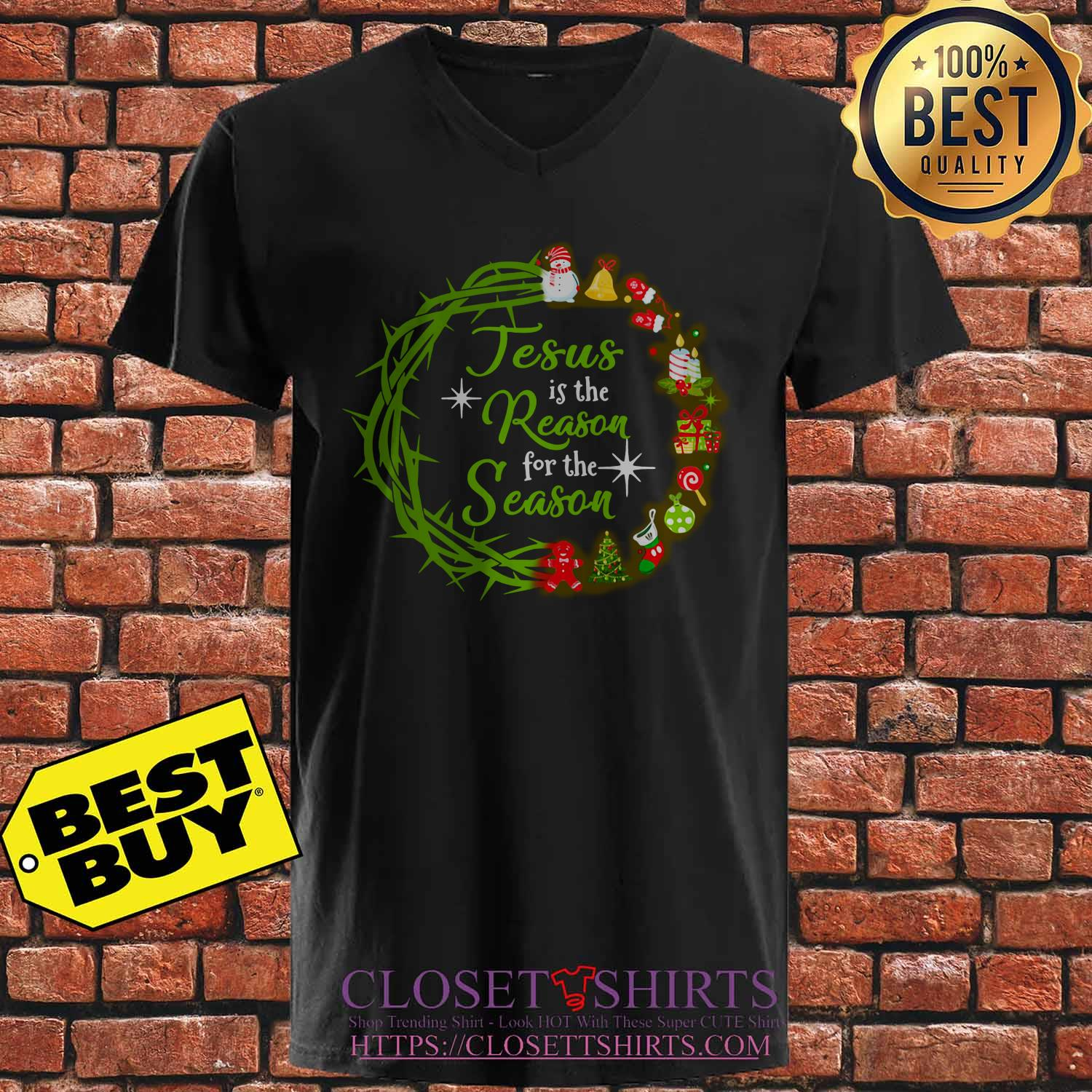 Jesus Is The Reason For The Season Christmas Wreath v neck