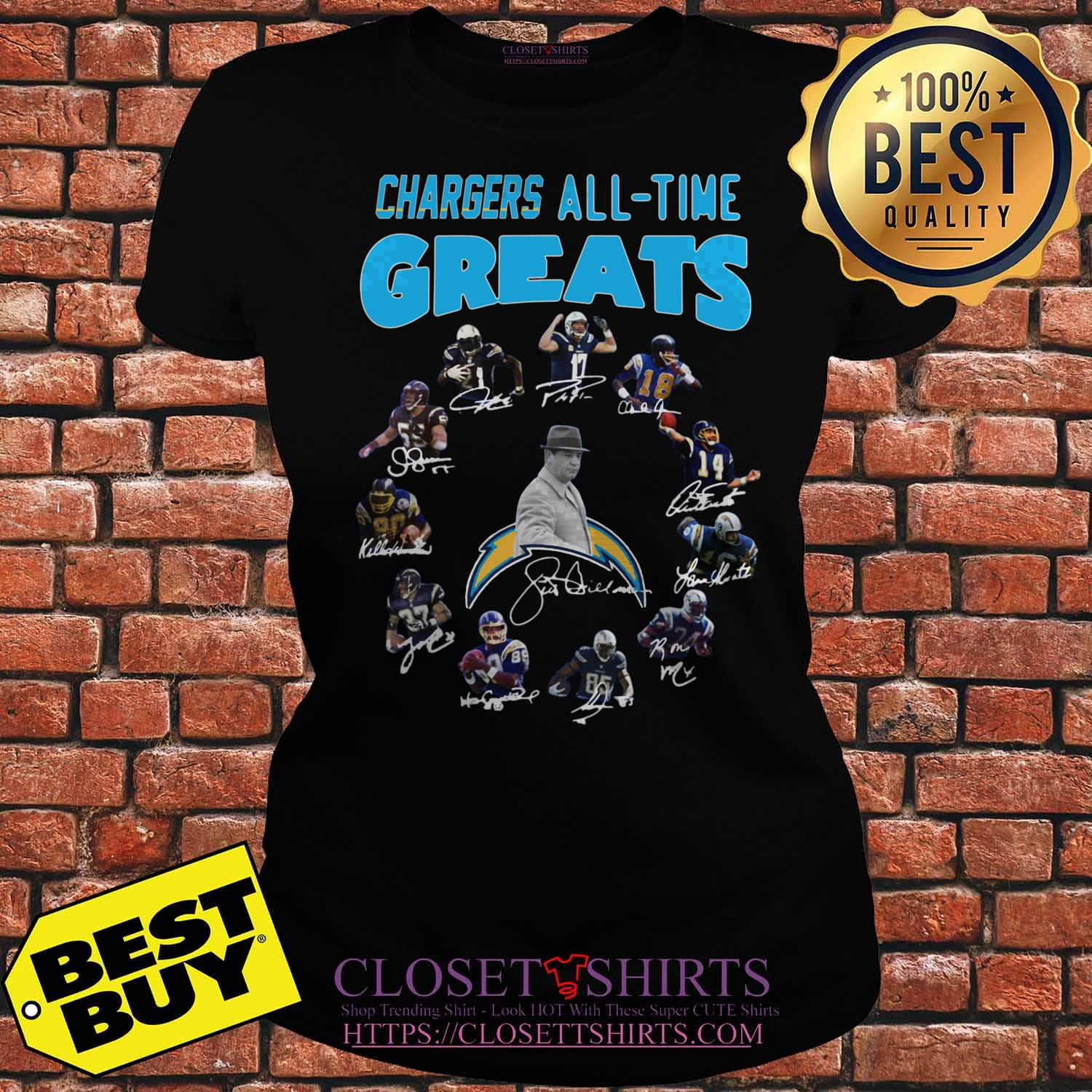 Los Angeles Chargers Players All Time Greats Signatures ladies tee