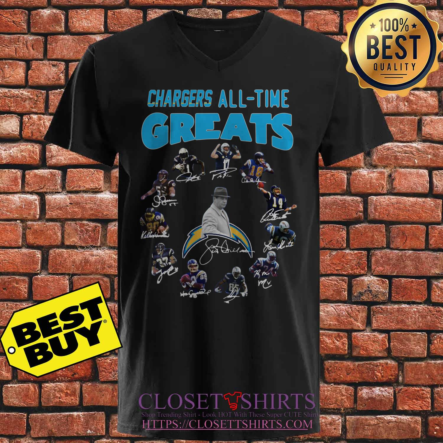 Los Angeles Chargers Players All Time Greats Signatures v neck