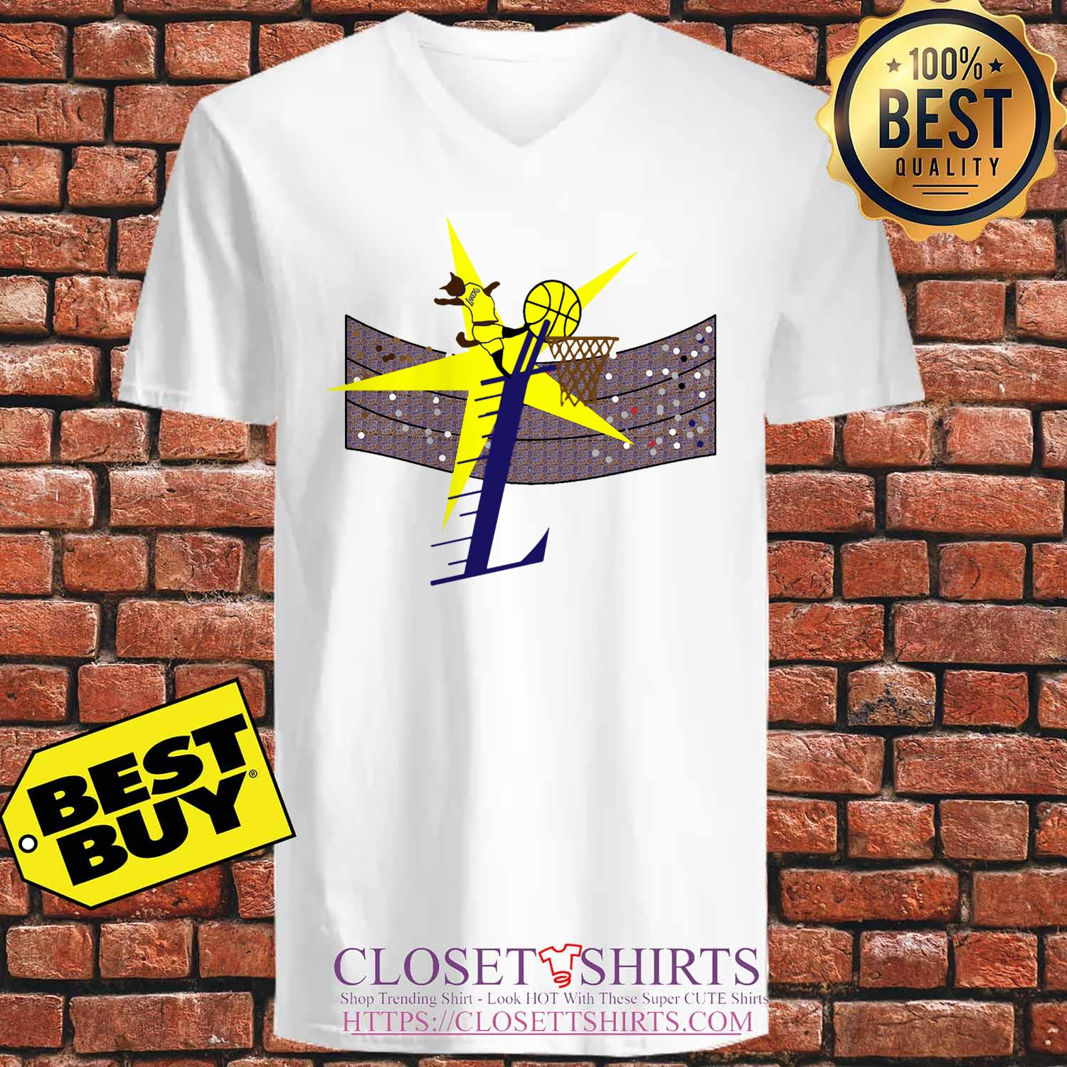 Los Angeles Lakers Basketball Cat Player v neck