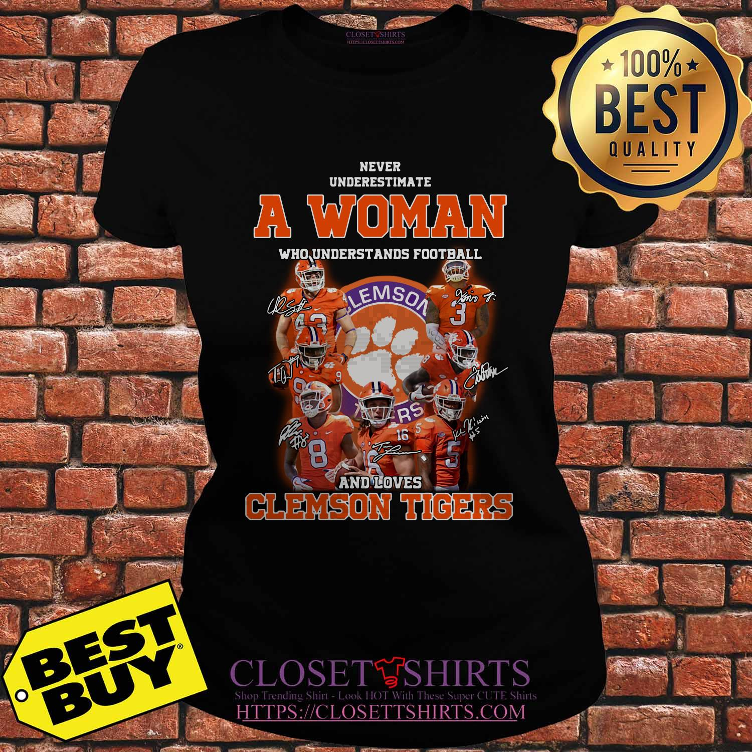 Never Underestimate A Woman Who Understands Football And Clemson Tigers ladies tee