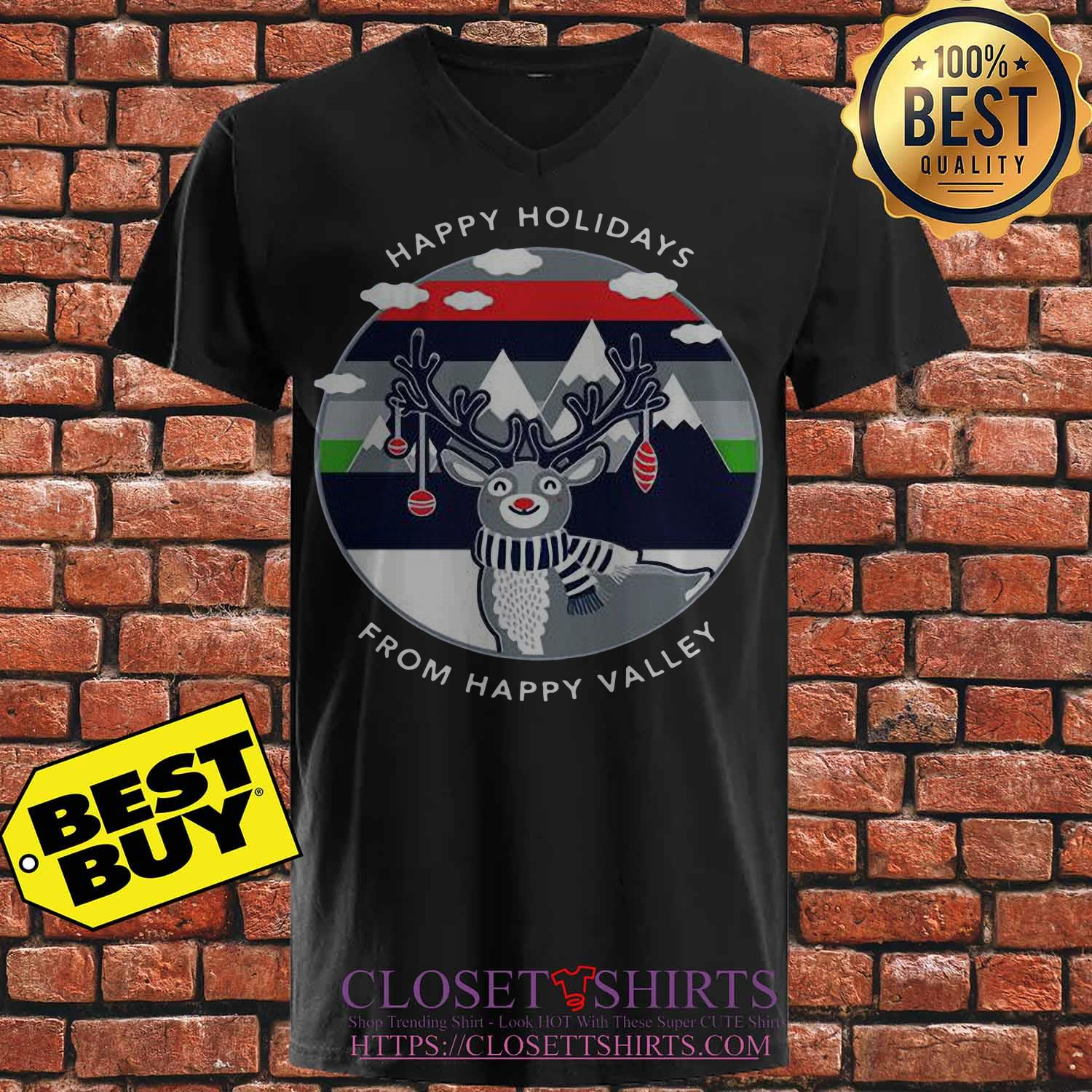 Penn State Happy Holidays Happy Valley Reindeer Christmas V Neck