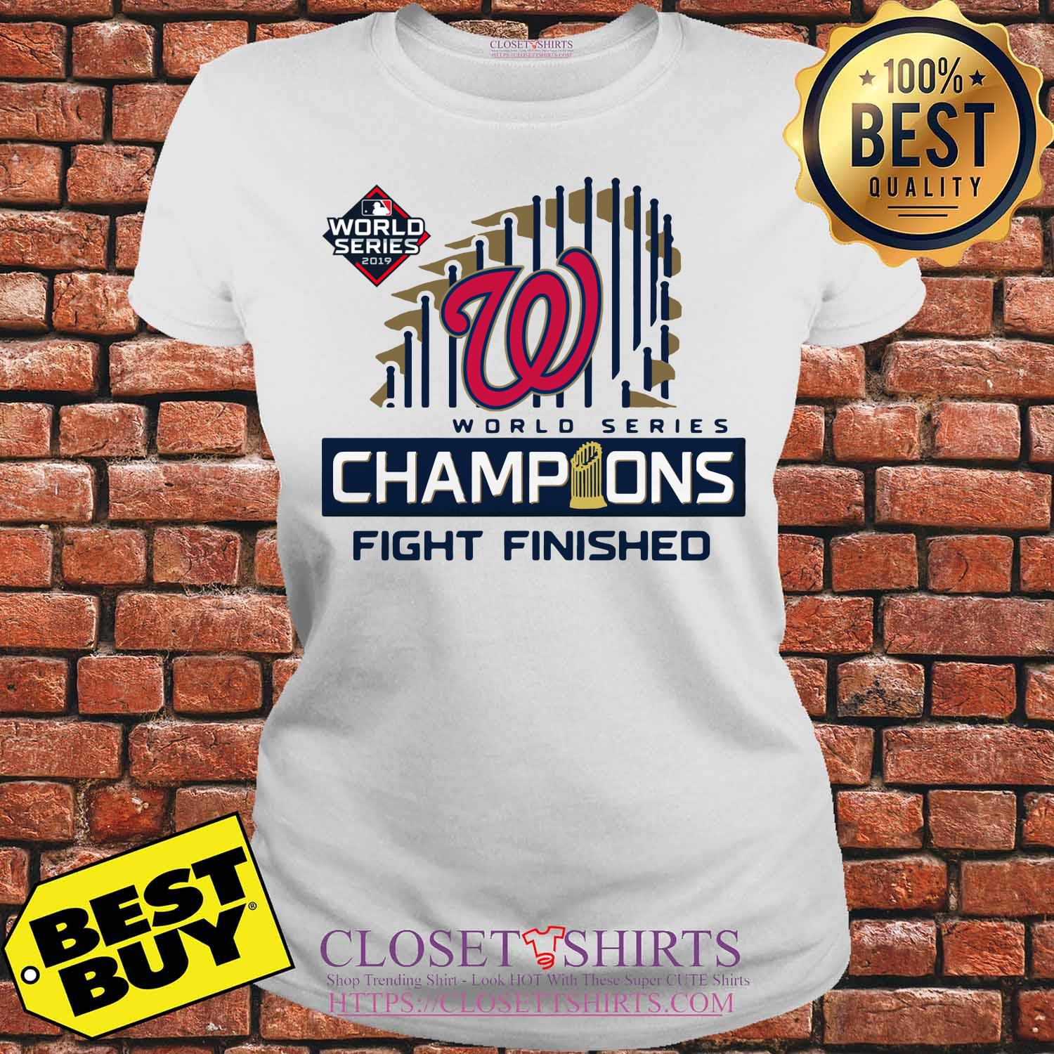 Washington Nationals 2019 World Series Champions Fight Finished ladies tee