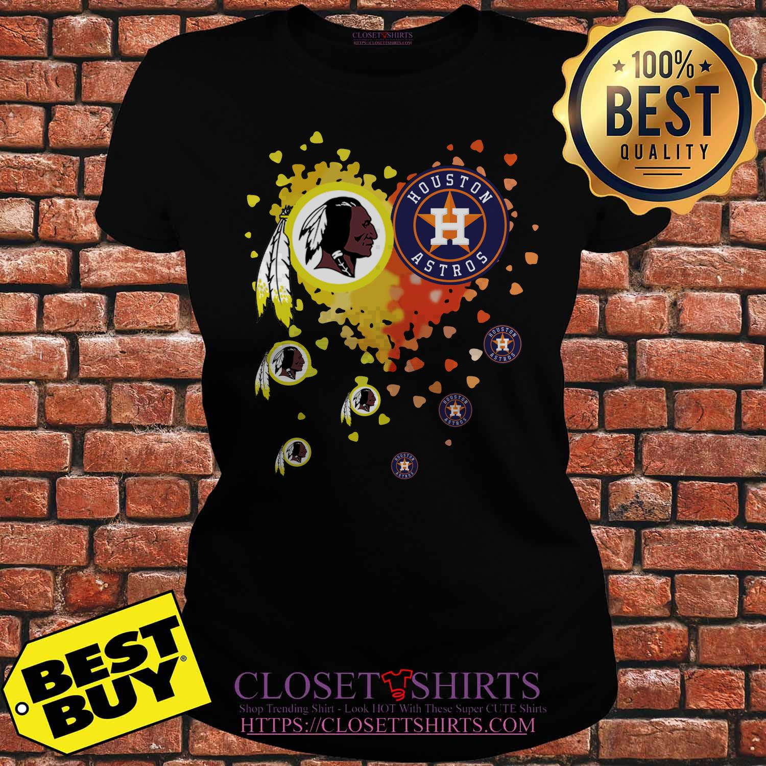 Washington Redskins Houston Astros It's In My Heart ladies tee