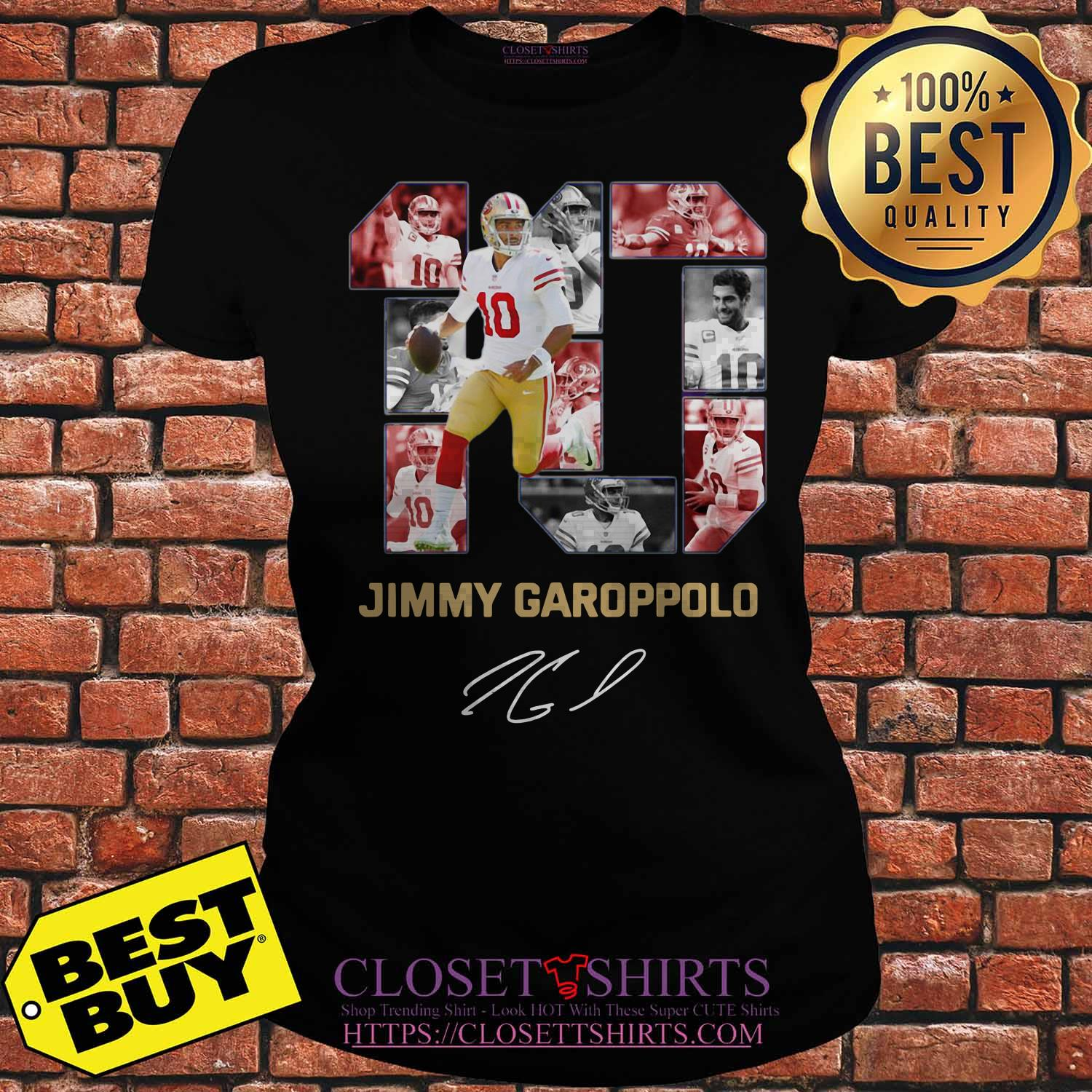 10 Jimmy Garoppolo San Francisco 49ers Signature Ladies Tee
