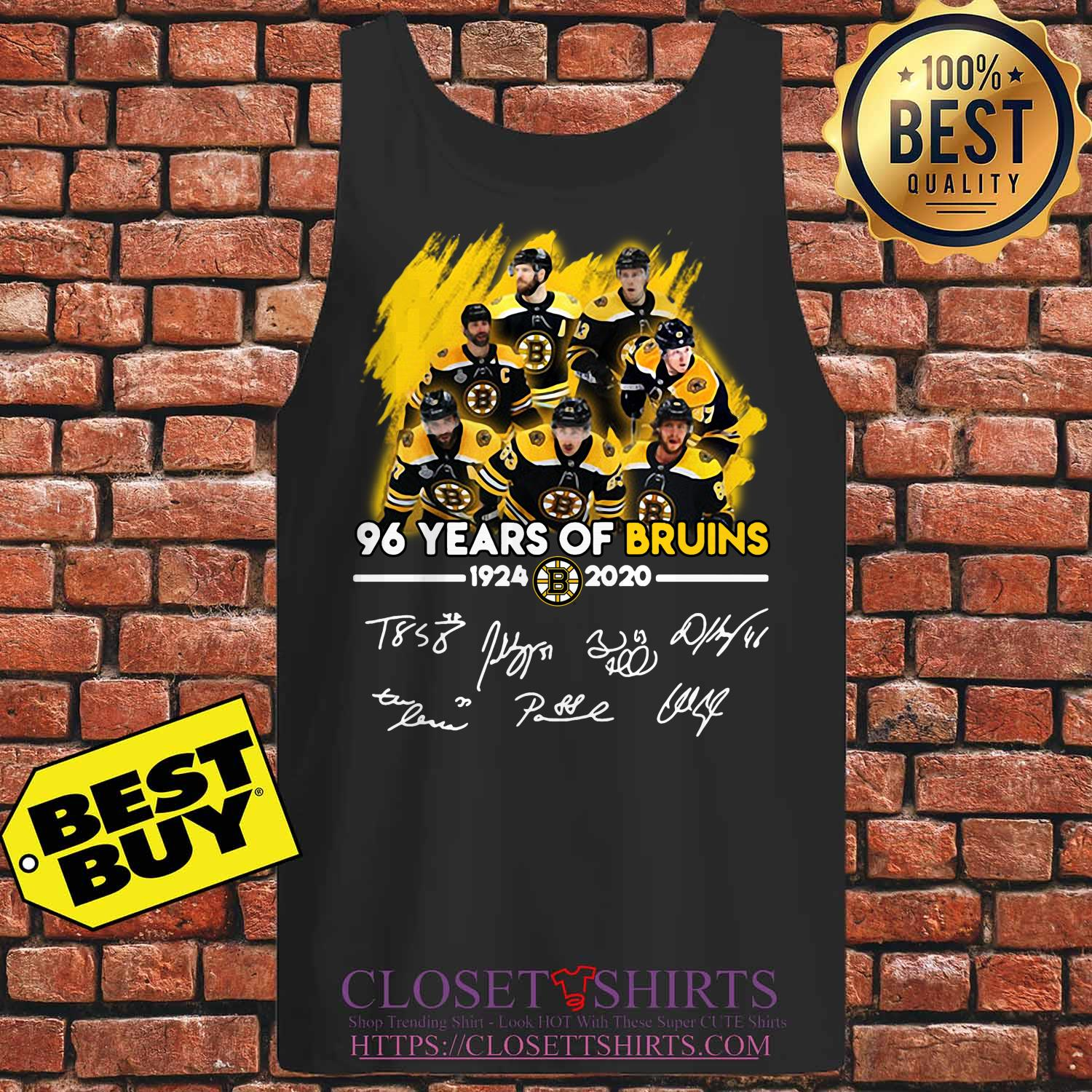 96 Years Of Boston Bruins 1924 2020 Players Signatures tank top