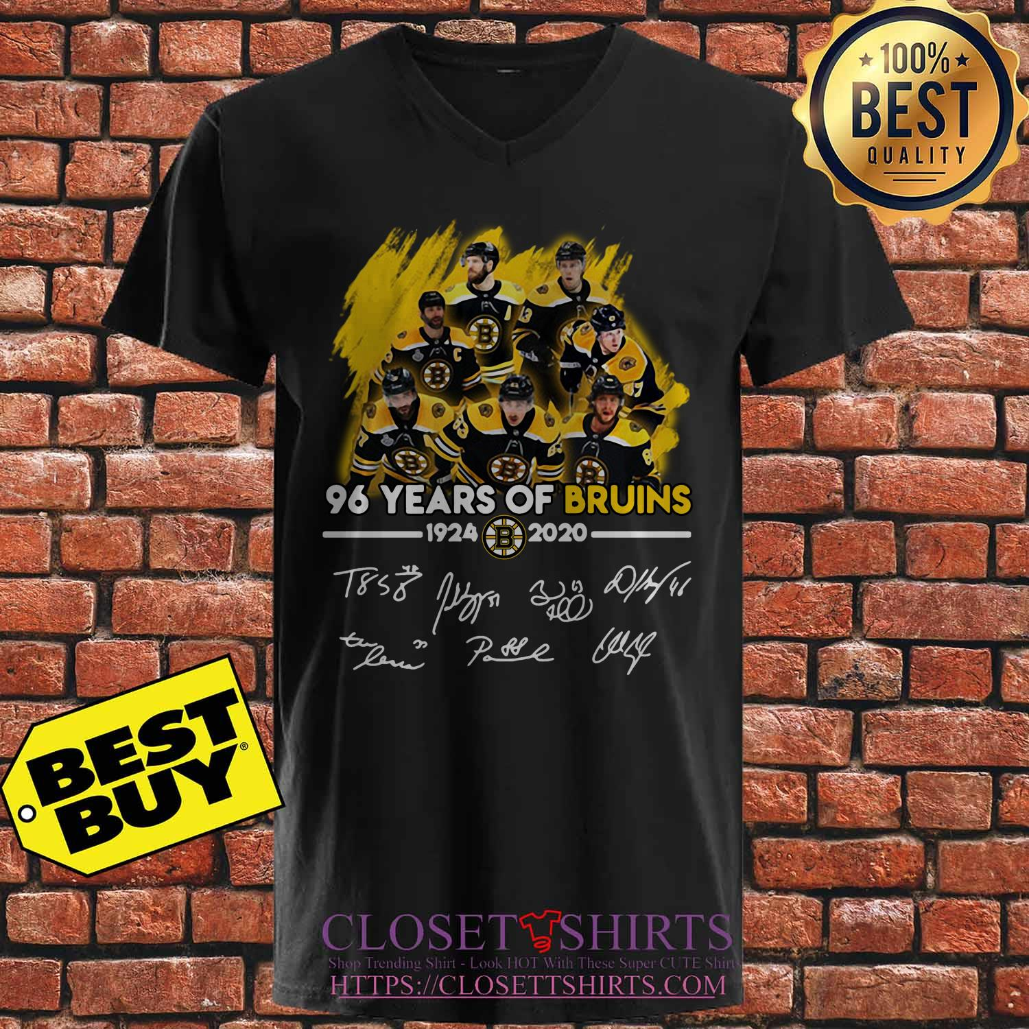 96 Years Of Boston Bruins 1924 2020 Players Signatures v neck