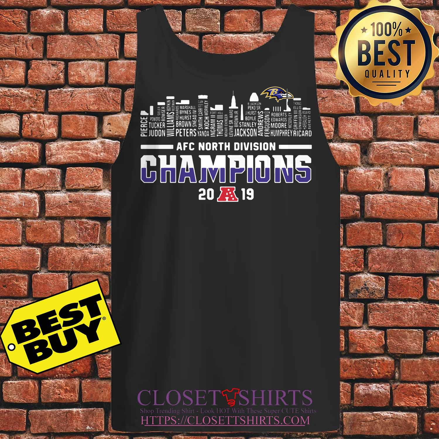 Baltimore Ravens Afc North Division Champions 2019 Tank Top