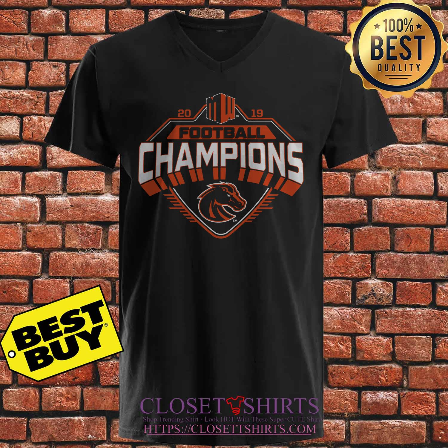 Boise State Broncos 2019 Mountain West Football Champions v neck