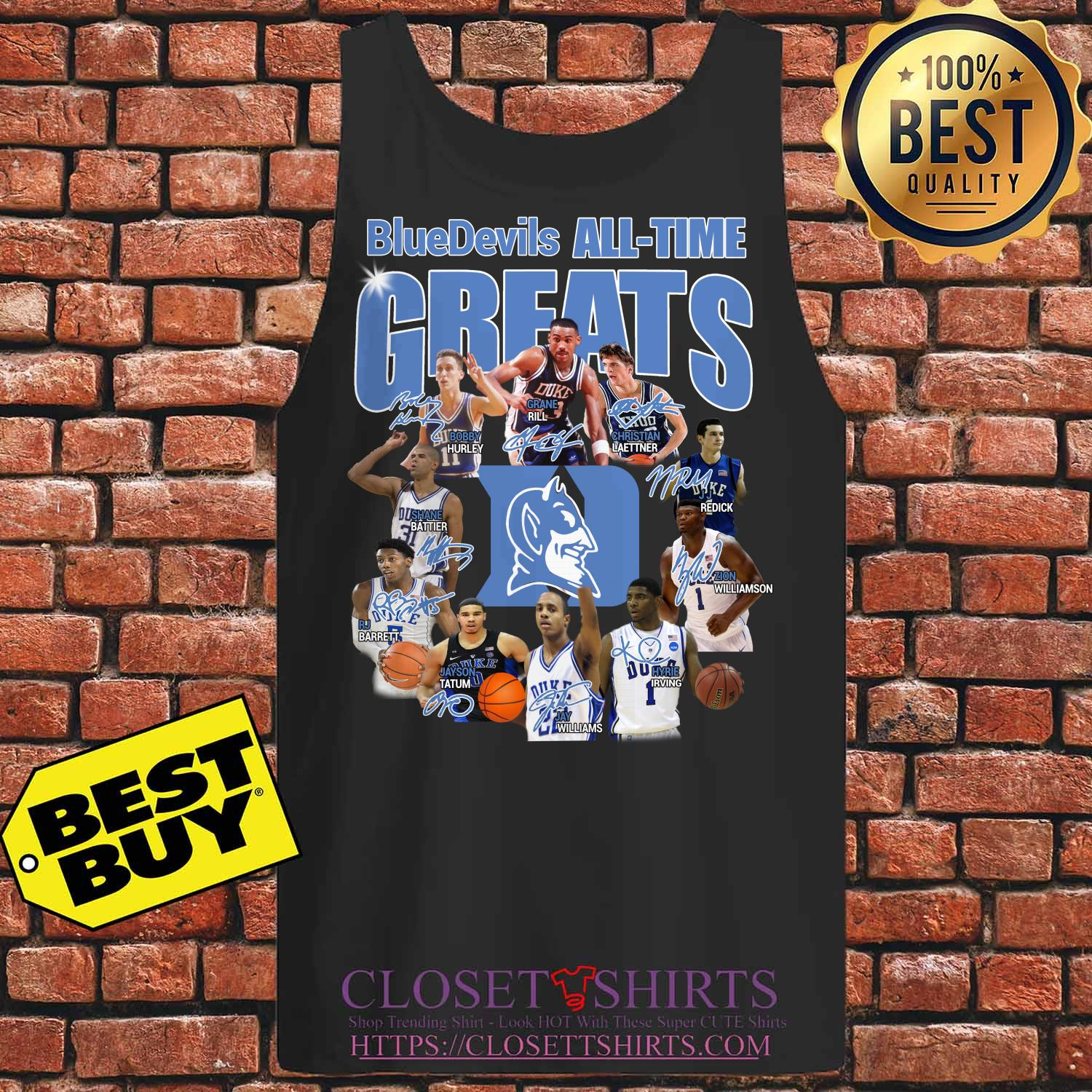 Duke Blue Devils Football All Time Greats Players Signatures tank top