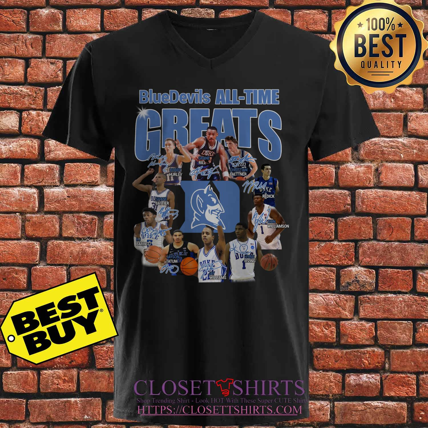 Duke Blue Devils Football All Time Greats Players Signatures v neck