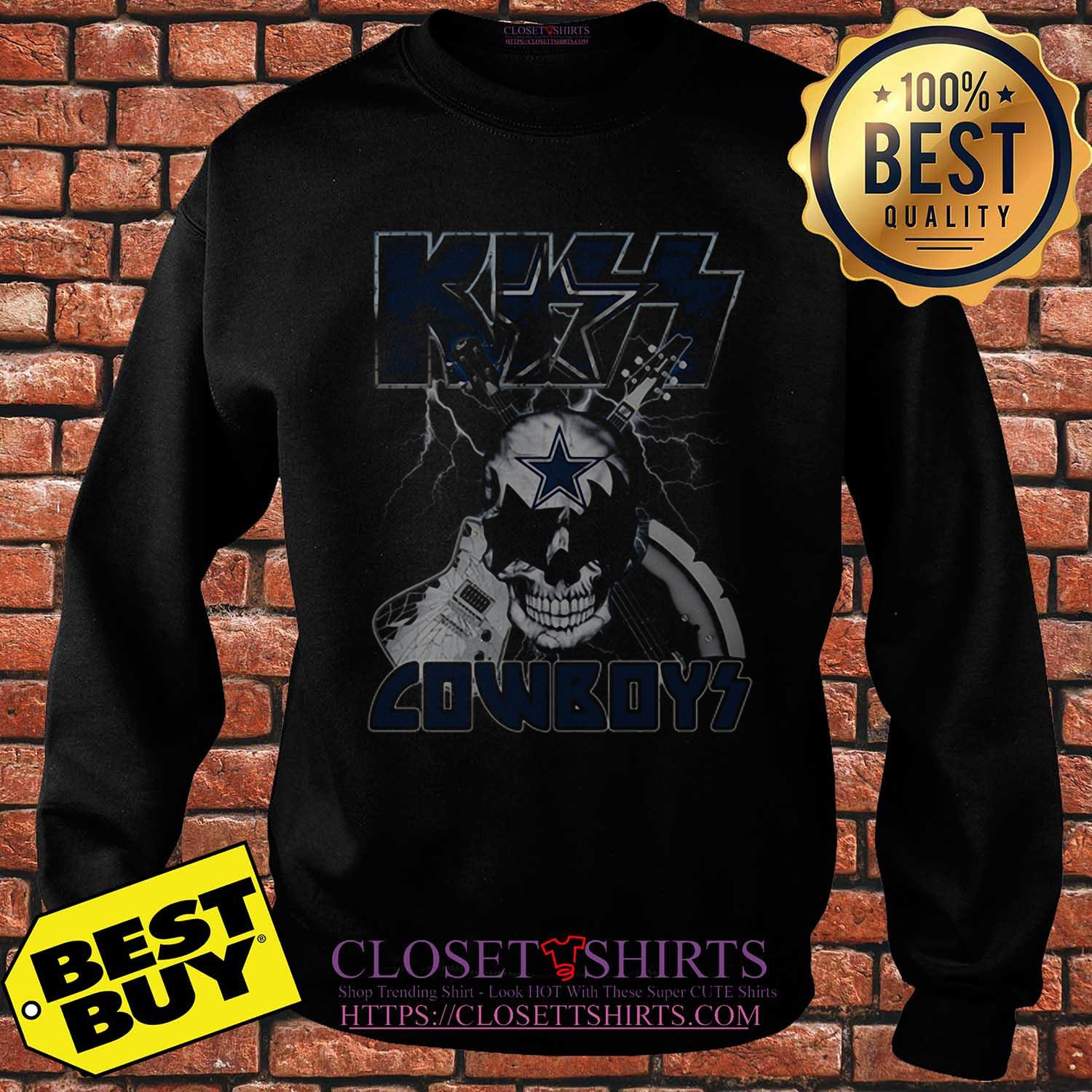 Kiss Cowboys Dallas Cowboys Guitar Skull sweatshirt