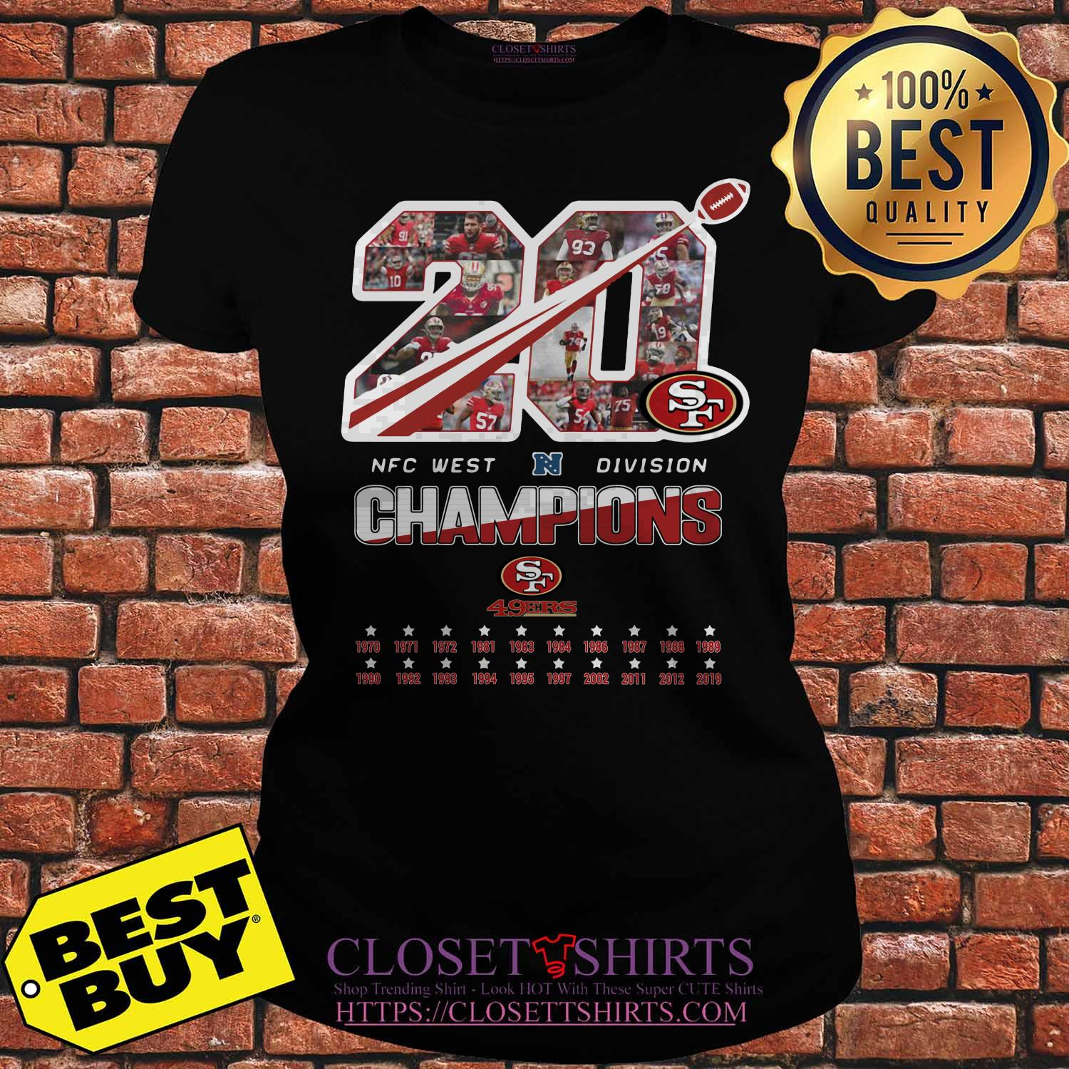 San Francisco 49ers 20 Nfc West Division Champions Ladies Tee