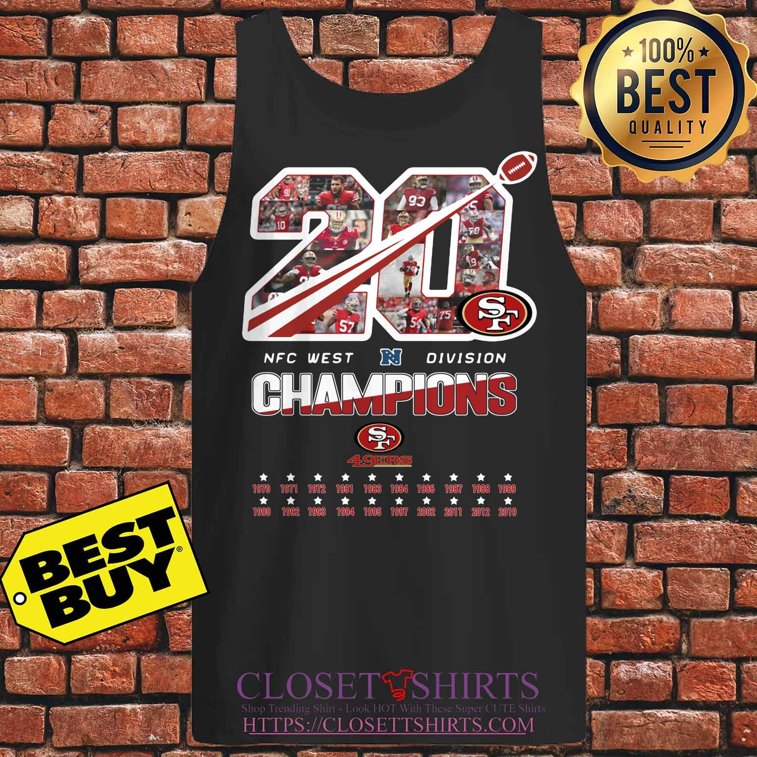 San Francisco 49ers 20 Nfc West Division Champions Tank Top