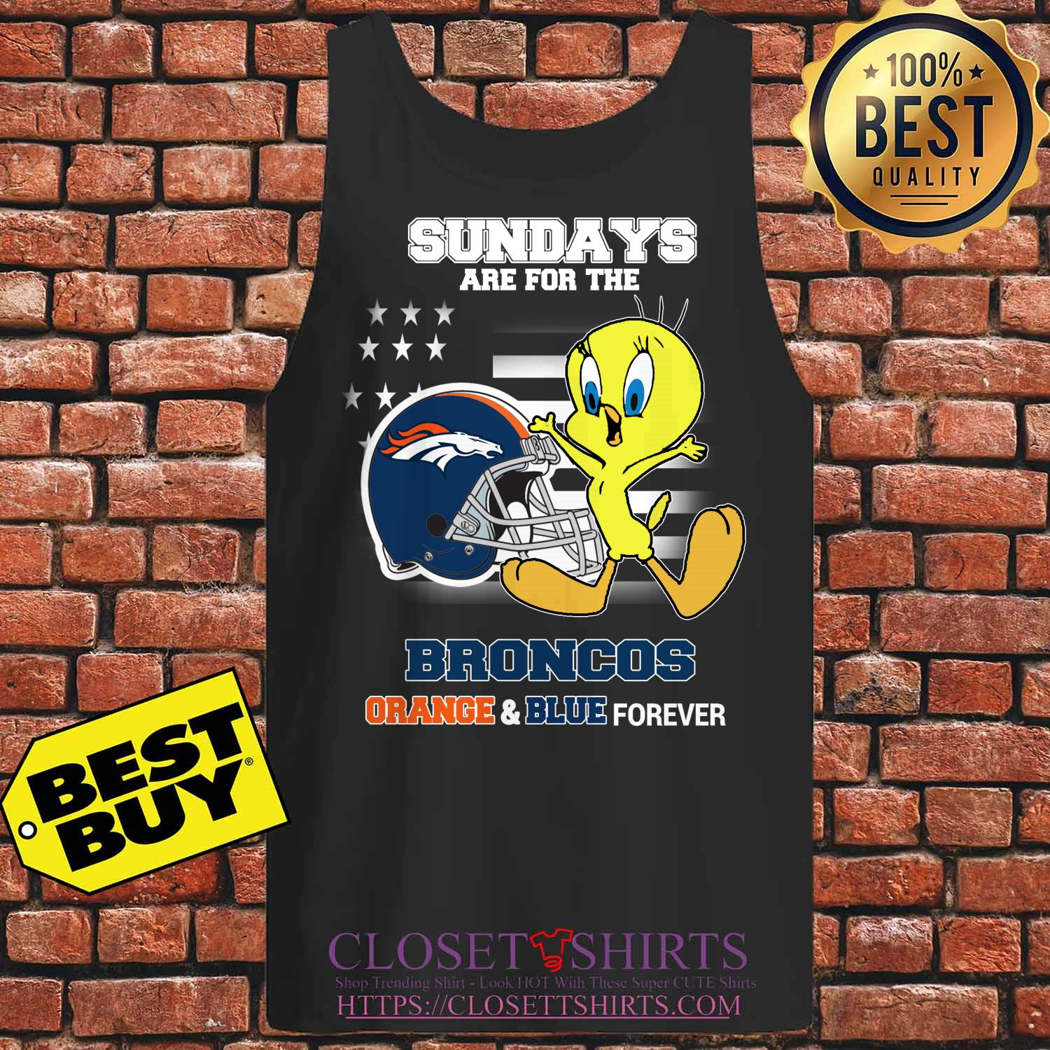 Sundays Are The Broncos Orange And Blue Forever Veteran tank top