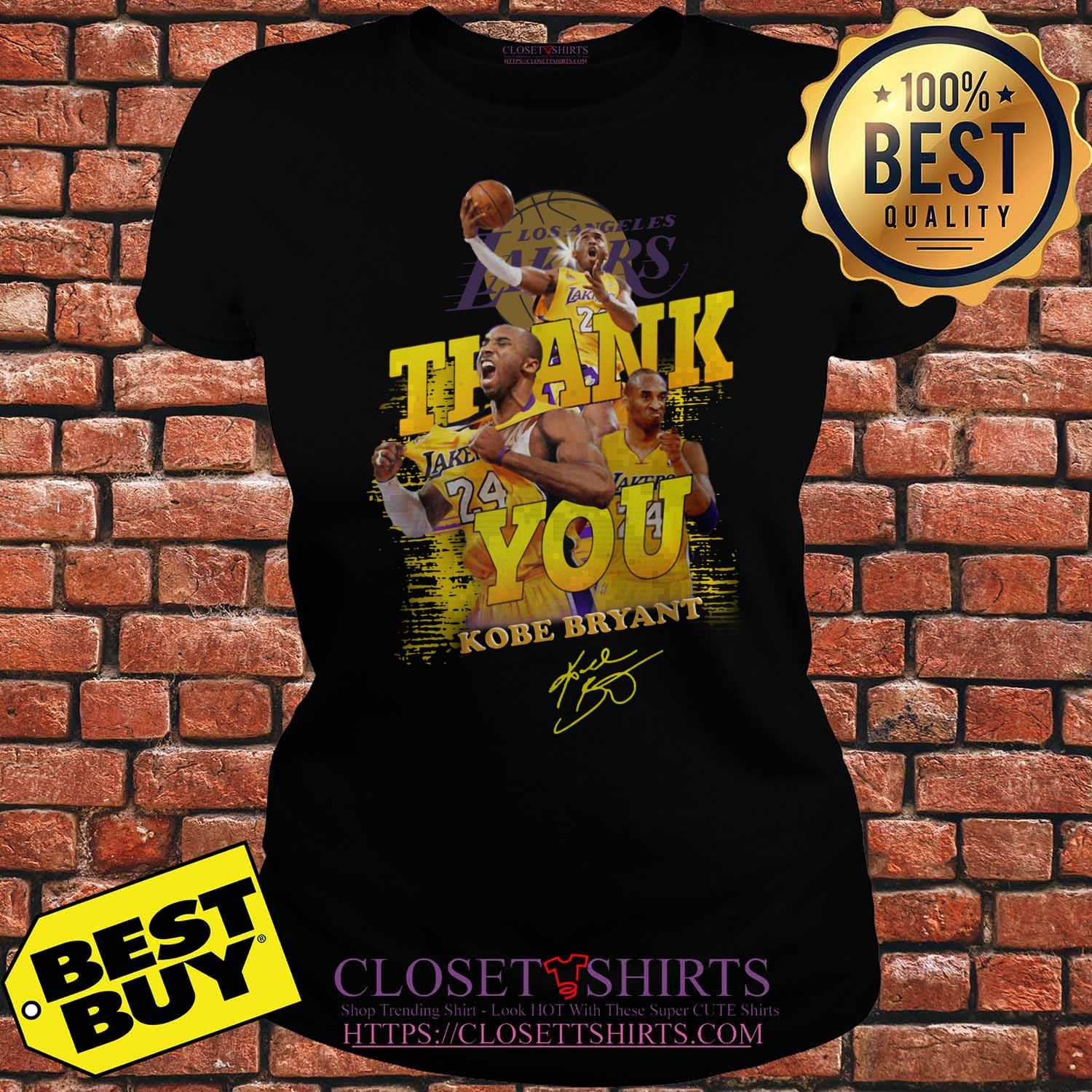 Thank You #24 Kobe Bryant Los Angeles Lakers Signature ladies tee