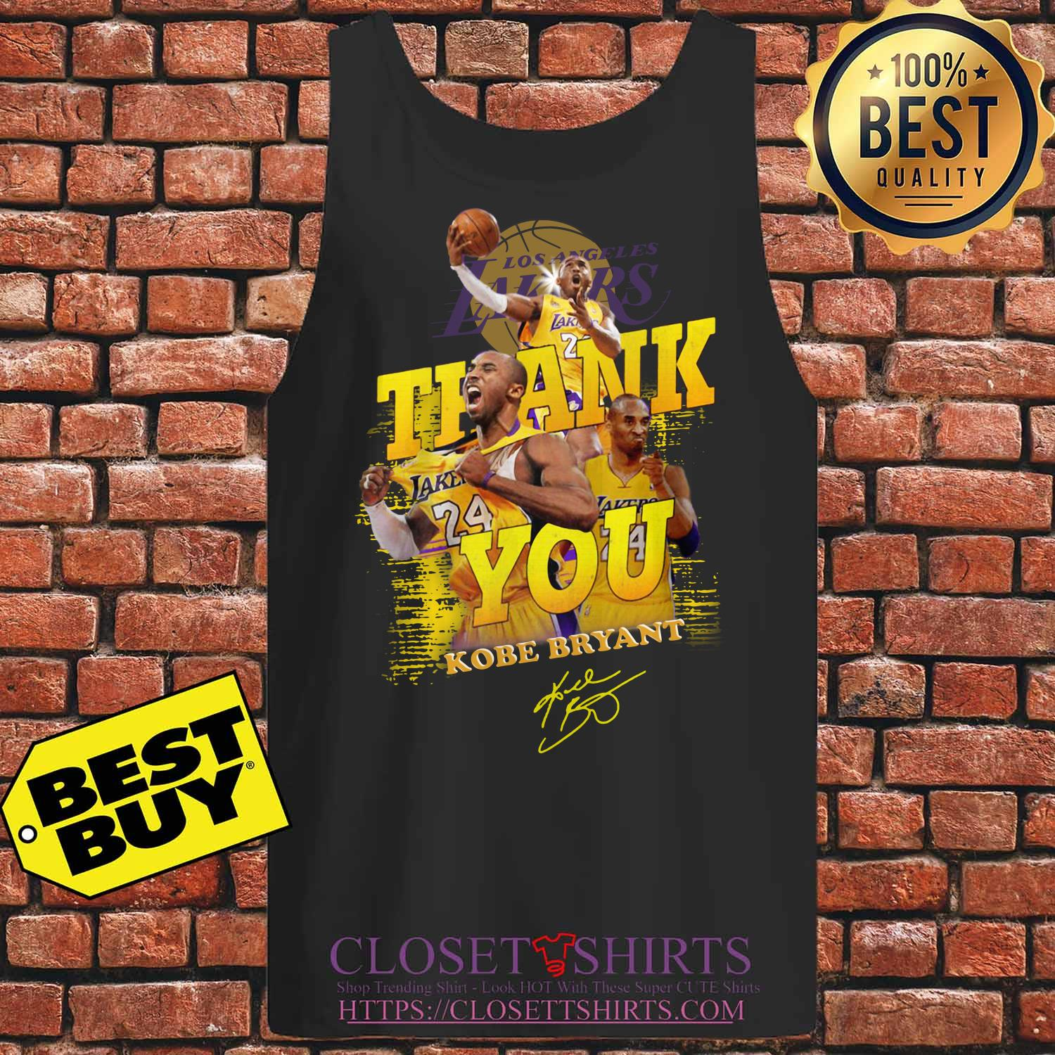 Thank You #24 Kobe Bryant Los Angeles Lakers Signature tank top.
