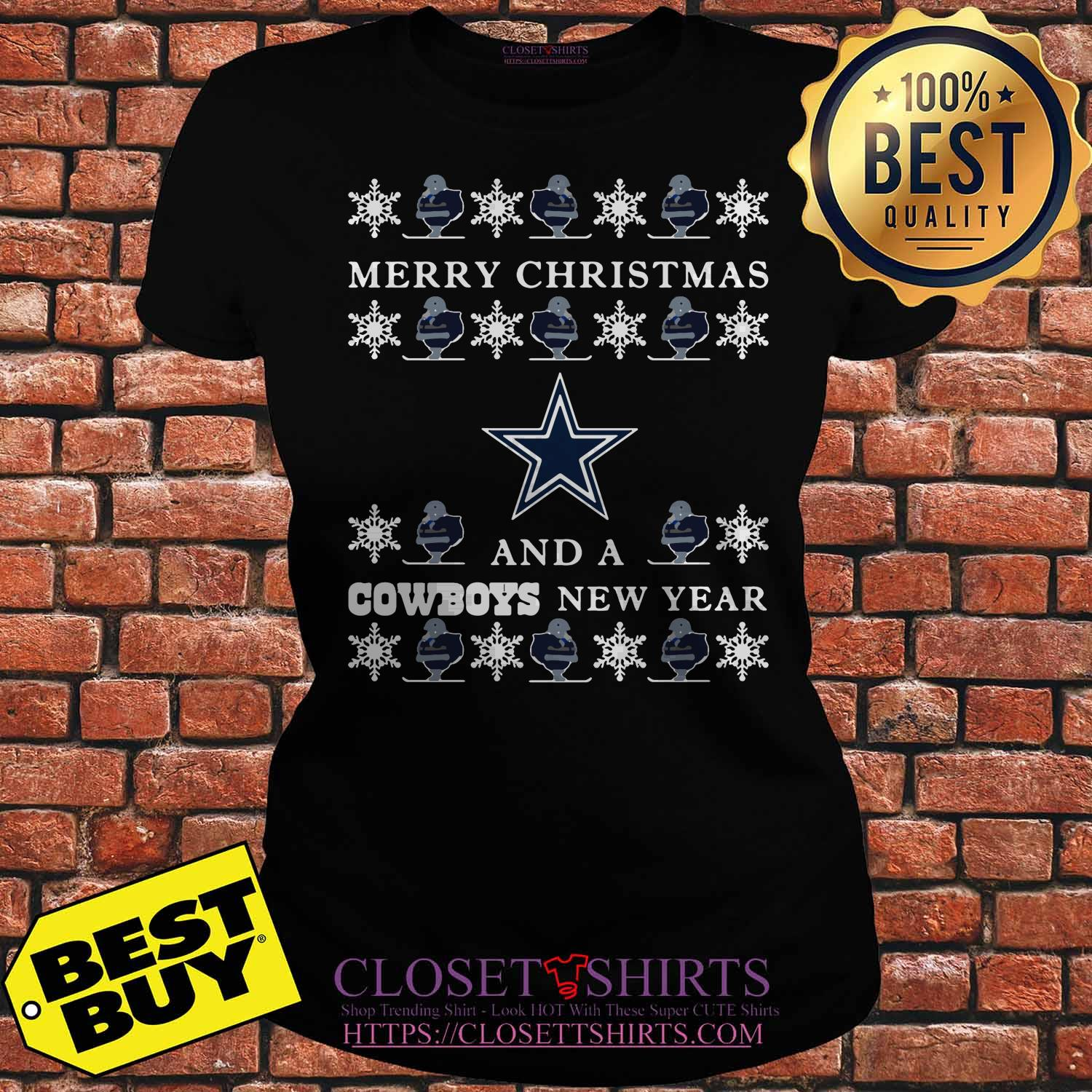 Ugly Merry Christmas And Dallas Cowboys ladies tee