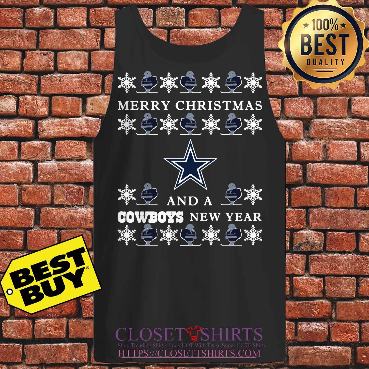 Ugly Merry Christmas And Dallas Cowboys tank top