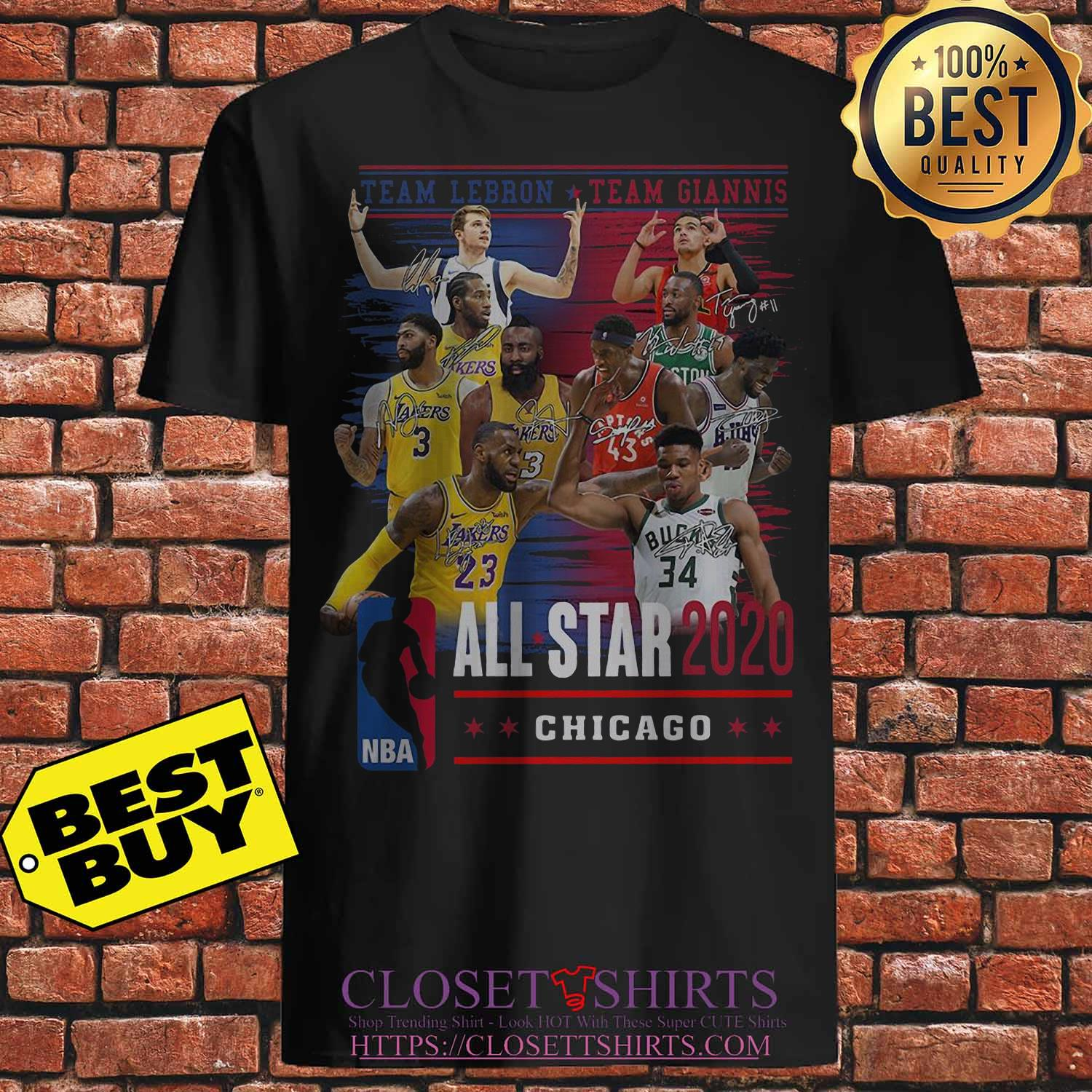 Team Lebron And Team Giannis All Star 2020 Chicago Signatures Shirt
