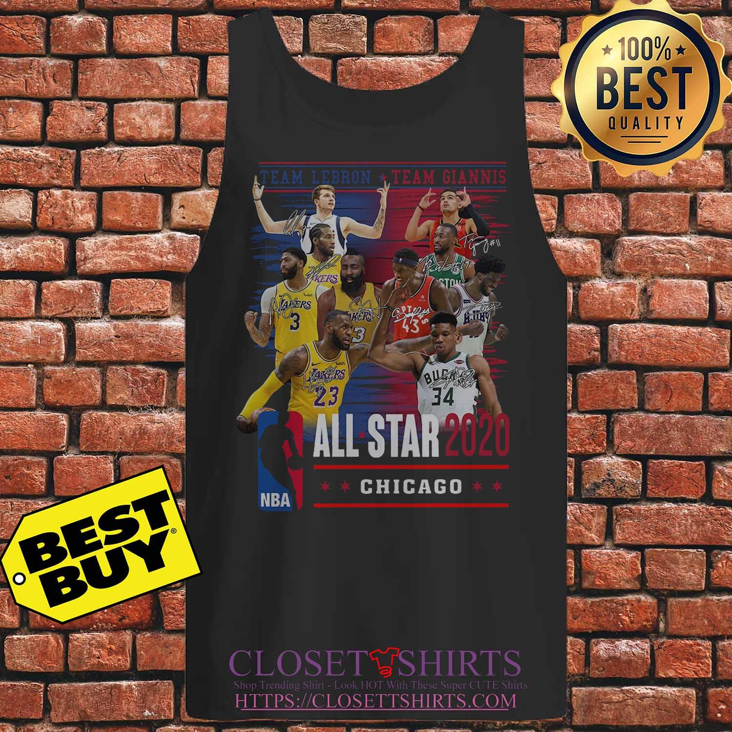 Team Lebron And Team Giannis All Star 2020 Chicago Signatures tank top