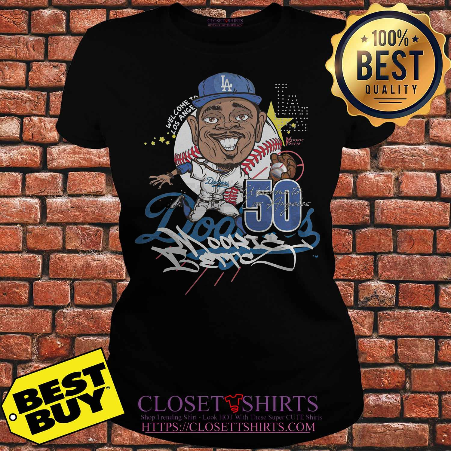 Welcome To Los Angeles 50 Dodgers Signature Ladies Tee