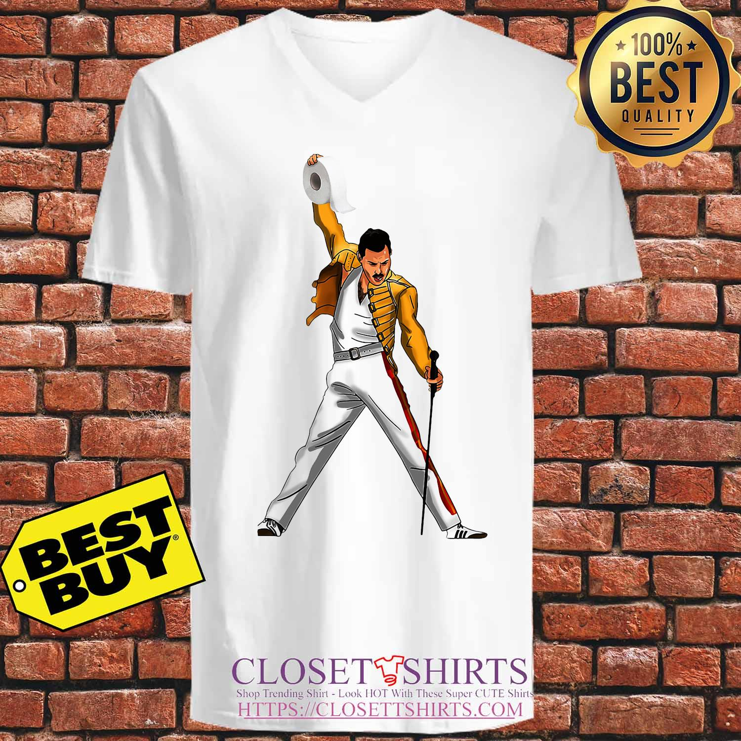 Freddie Mercury Cartoon Toilet Paper 2020 s V-neck