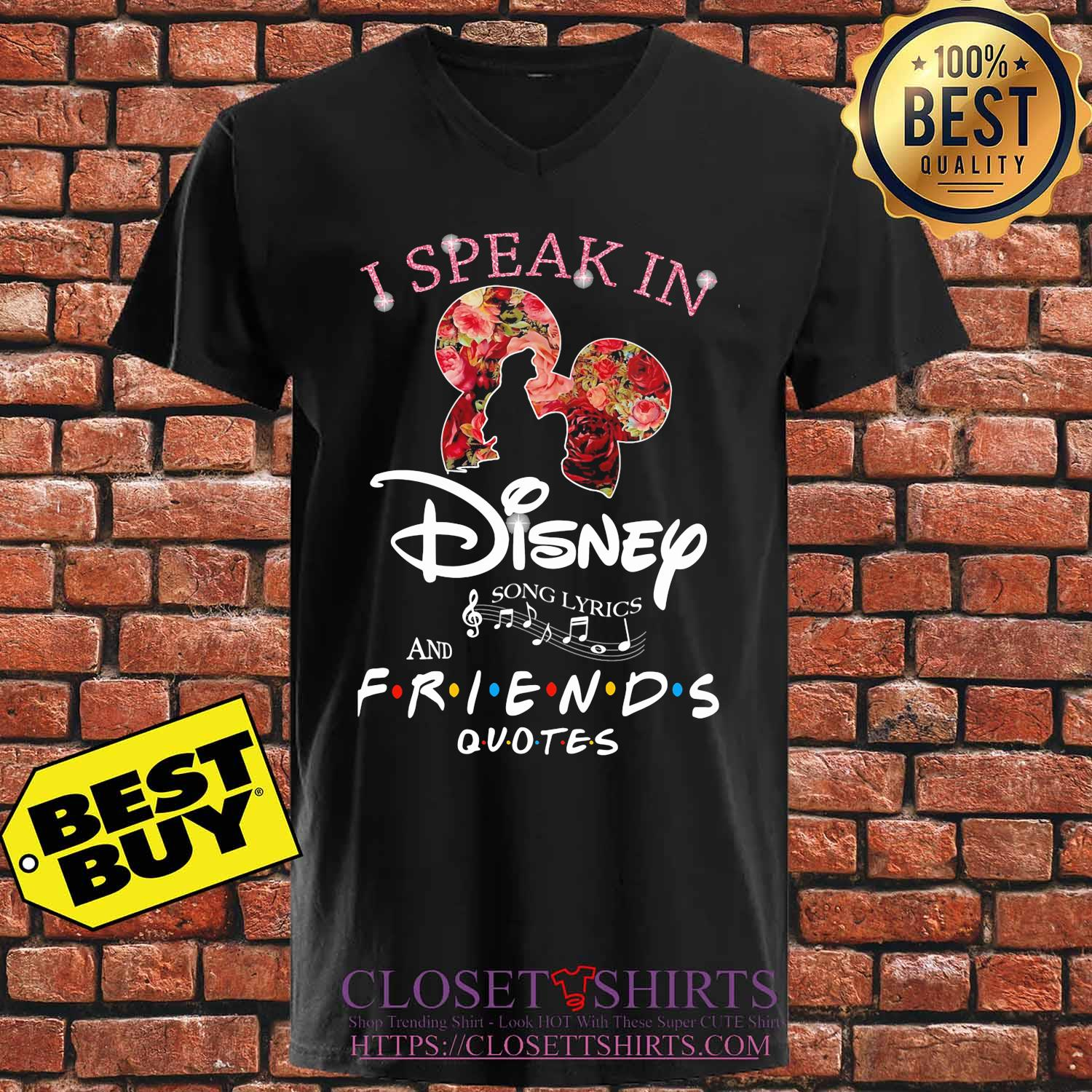 I Speak In Disney Song Lyrics And Friends Quotes Flowers s V-neck