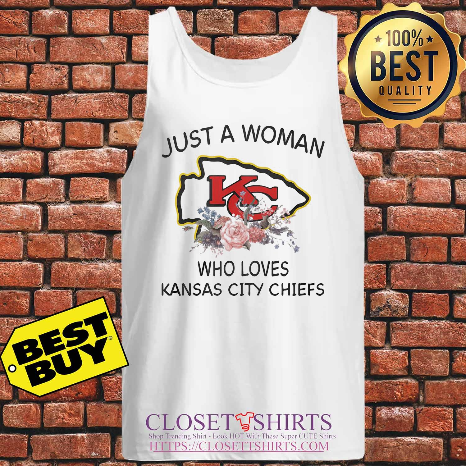 Just a woman who loves Kansas City Chiefs flowers s Tank-top