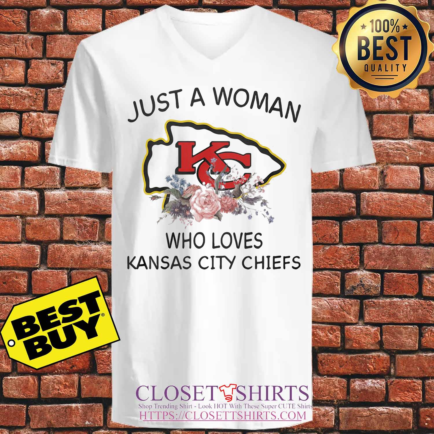 Just a woman who loves Kansas City Chiefs flowers s V-neck