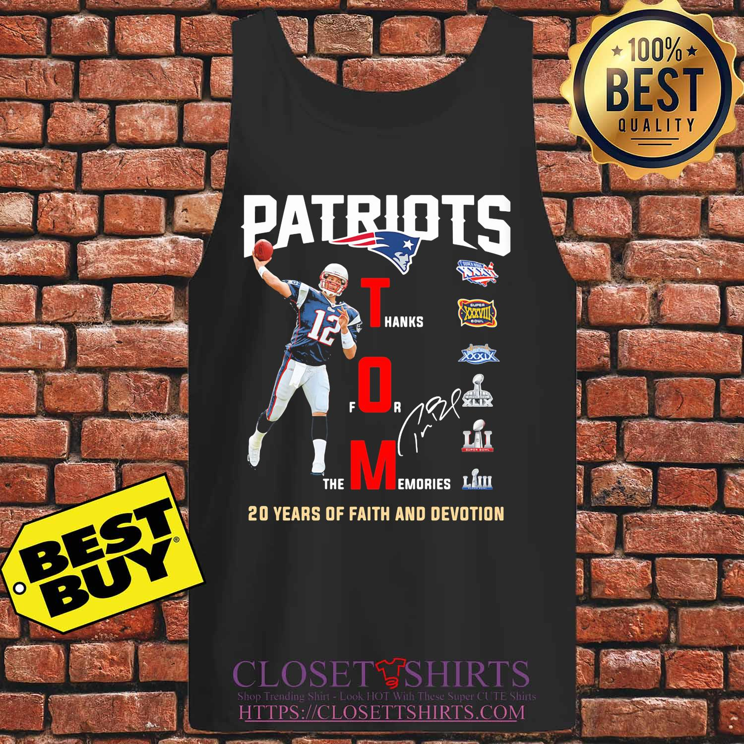 New england patriots tom liv 20 years of faith and devotion signature s Tank top