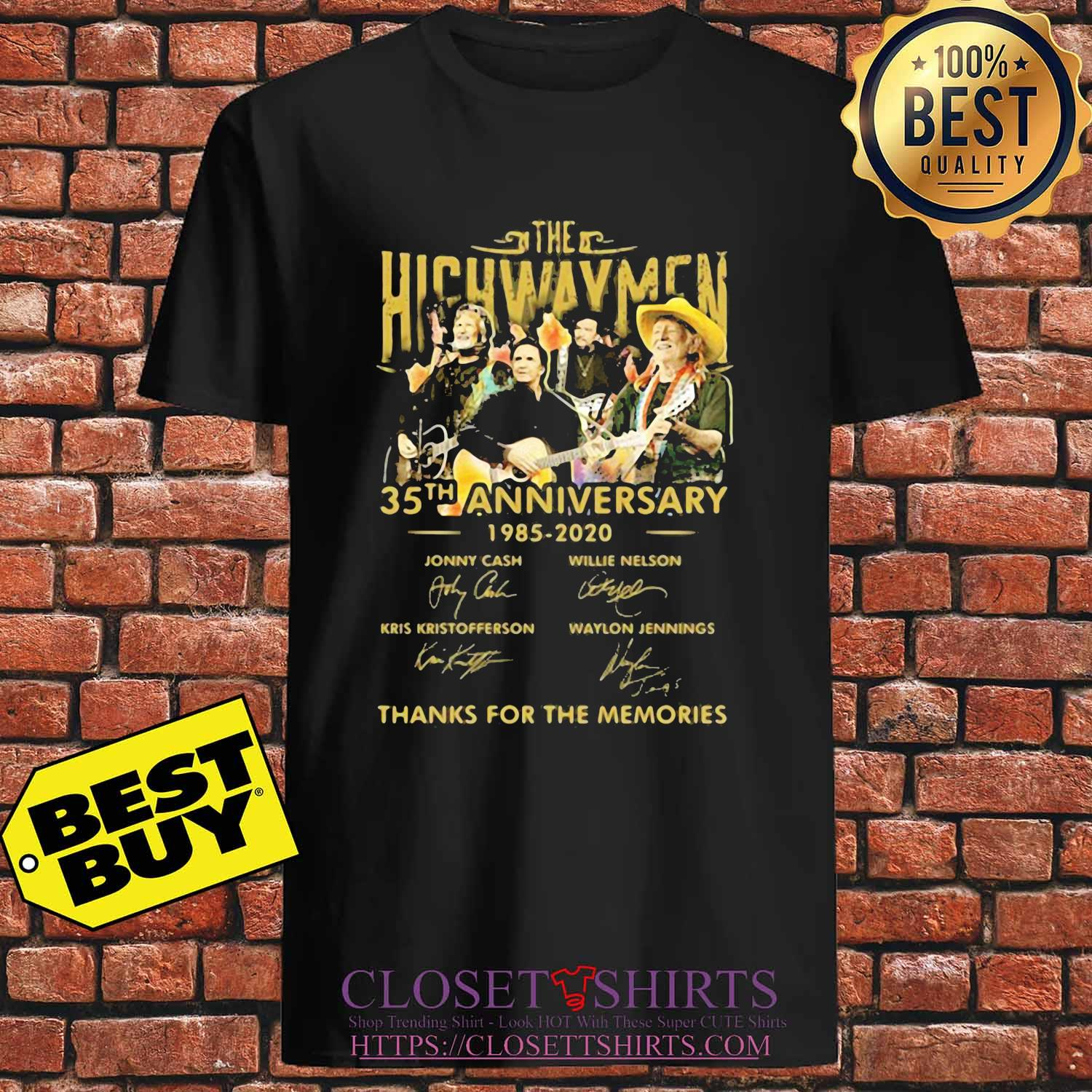 The Highwaymen 35th anniversary 1985 2020 thanks for the memories signature s Unisex