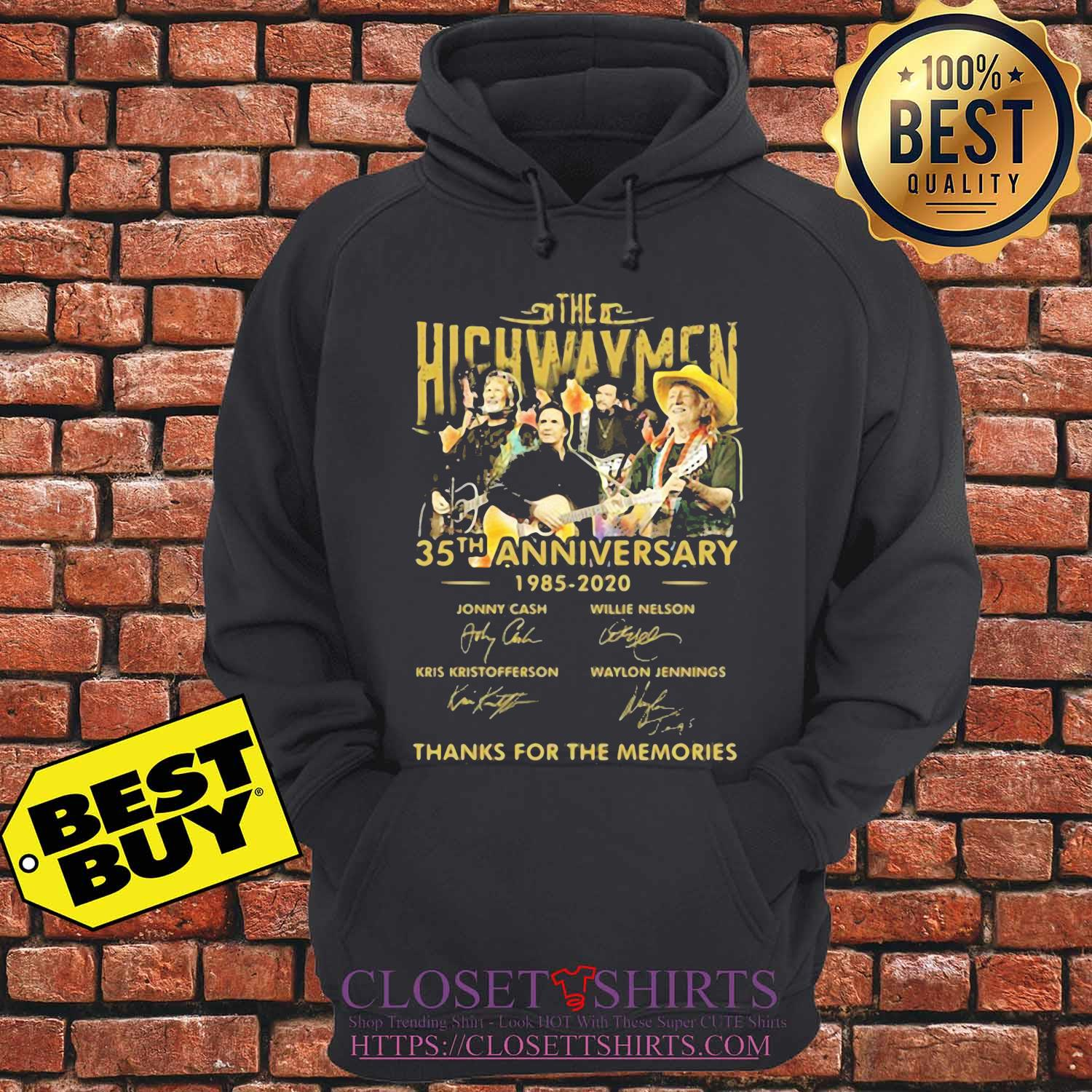 The Highwaymen 35th anniversary 1985 2020 thanks for the memories signature s hoodie
