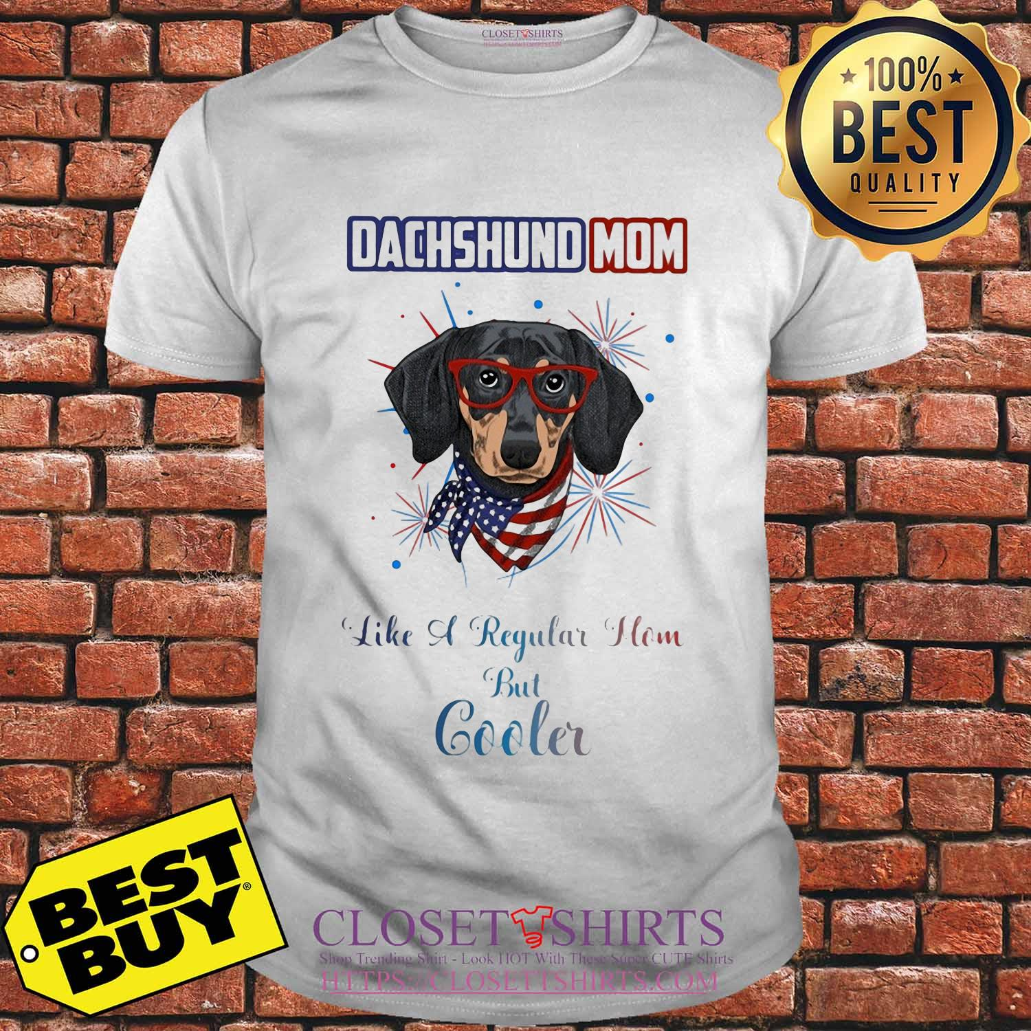 Dachshund mom like a regular how but cooler American flag veteran Independence Day shirt