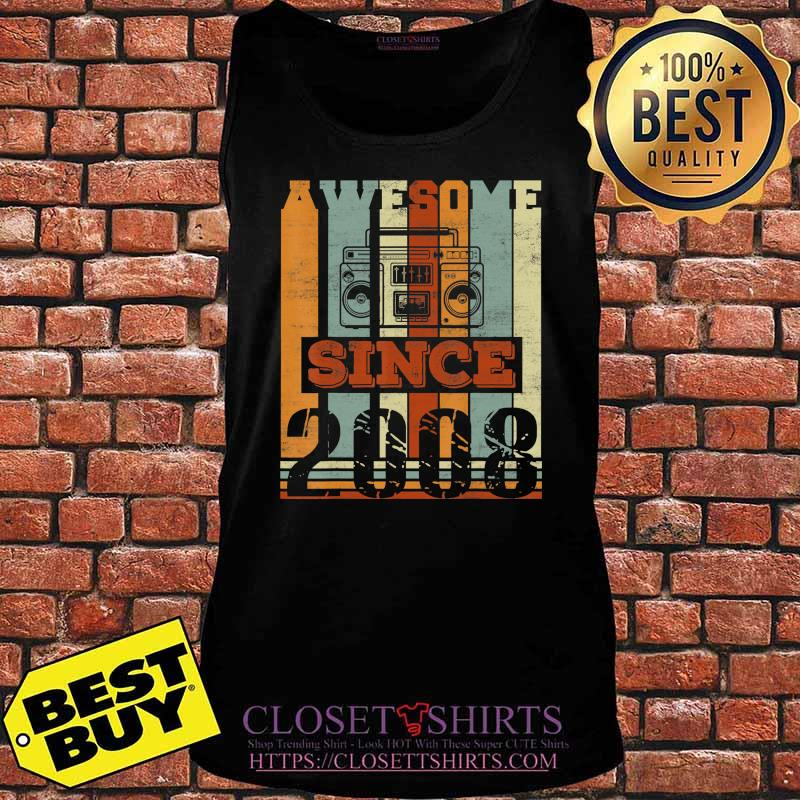 Awesome Since 2008 Gift 12nd Birthday 12 Years Old Cassette T-Shirt Tank top