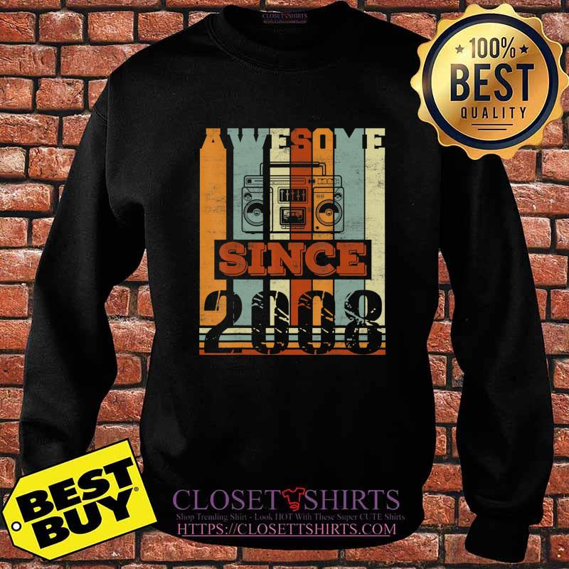 Awesome Since 2008 Gift 12nd Birthday 12 Years Old Cassette T-Shirt Sweater