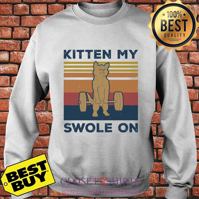 Weightlifting cat kitten my swole on vintage retro s Sweater