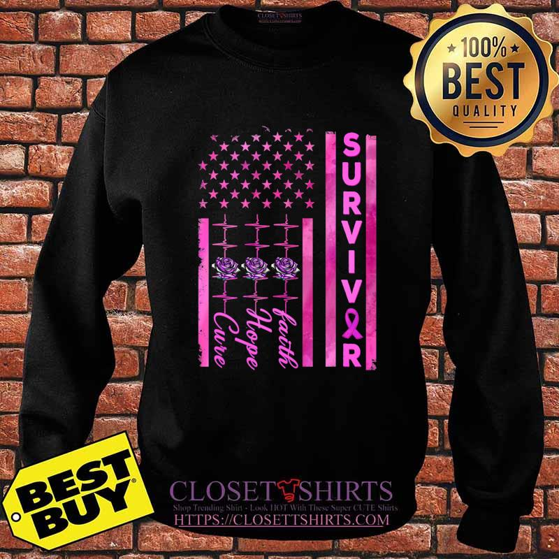 Breast Cancer Awareness Survivor American Distressed Flag T-Shirt Sweater