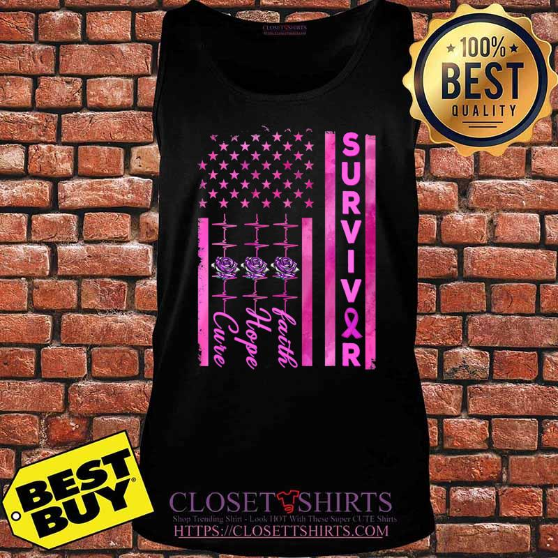 Breast Cancer Awareness Survivor American Distressed Flag T-Shirt Tank top