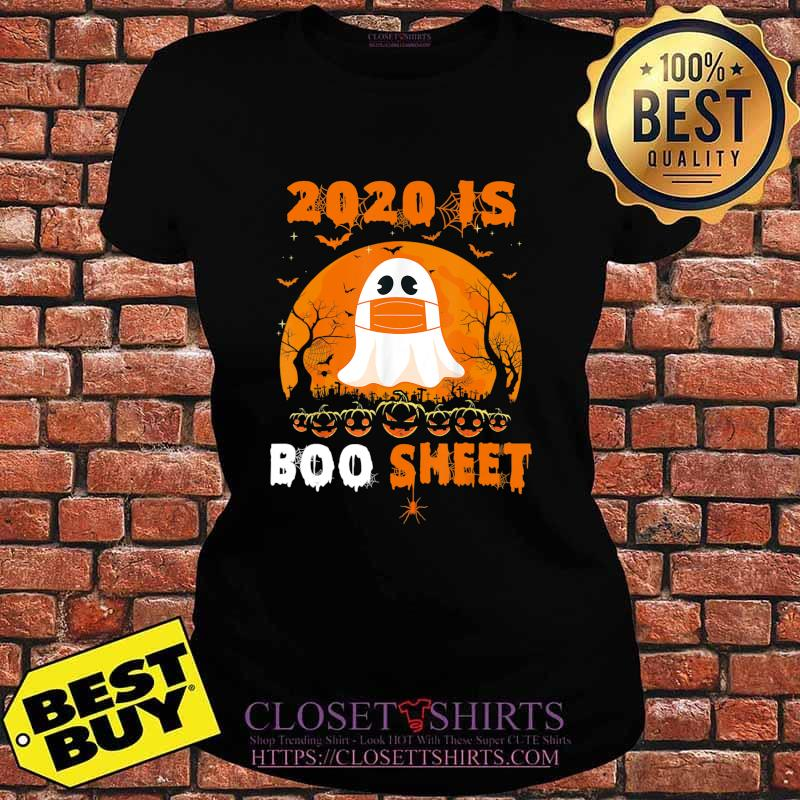 2020 Boo Sheet Funny Ghost in Mask Simple Halloween Costume T-Shirt V-neck