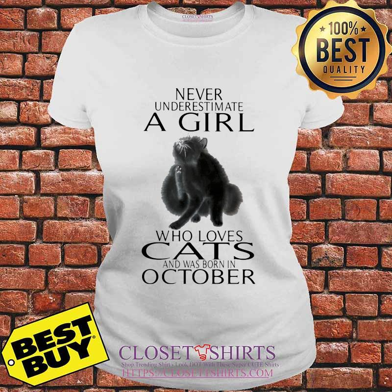 Never underestimate a girl who loves cats and was born in october s V-neck