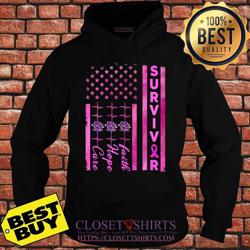 Breast Cancer Awareness Survivor American Distressed Flag T-Shirt Hoodie